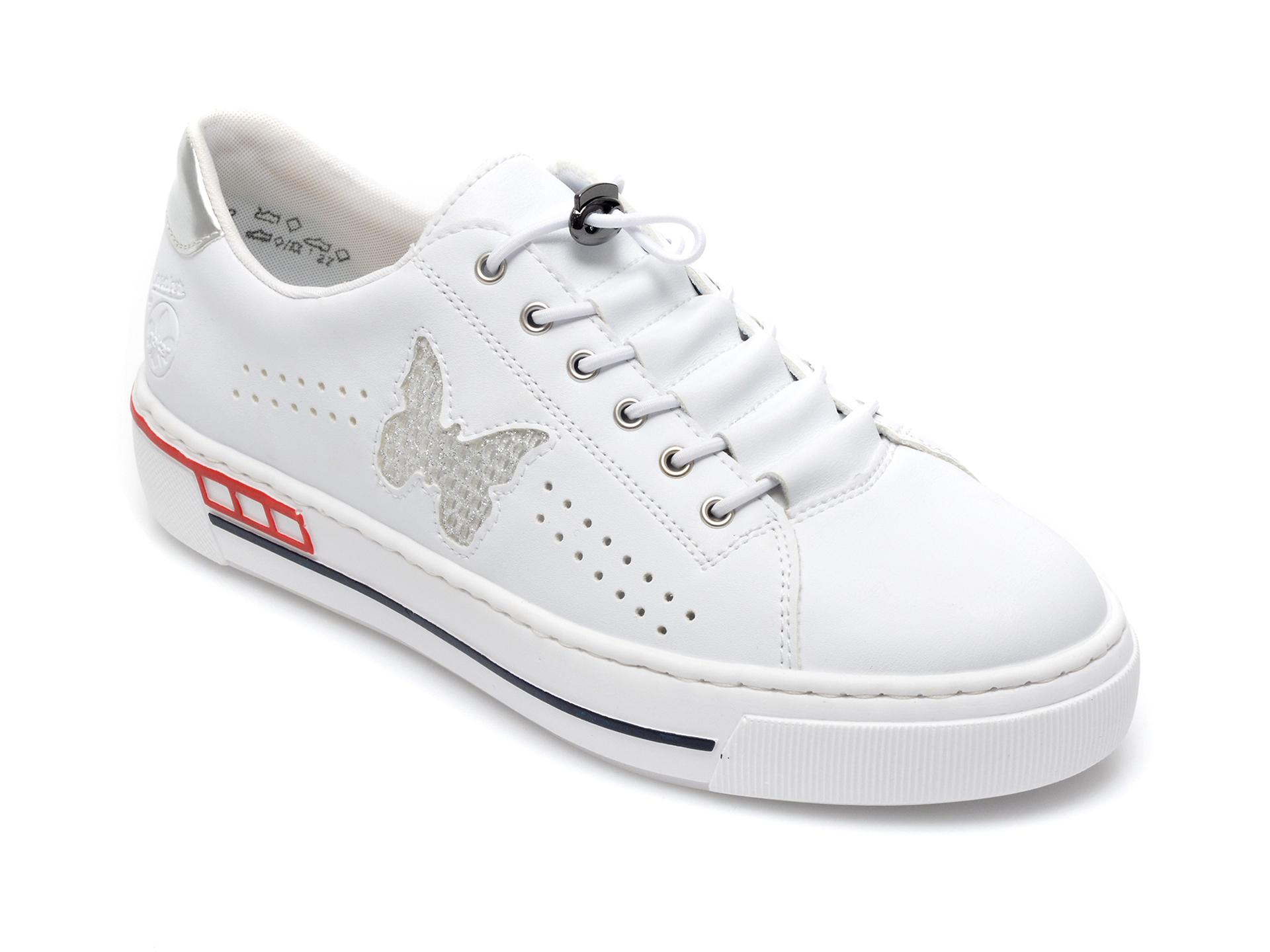 Pantofi sport RIEKER albi, L8857, din piele ecologica imagine otter.ro 2021