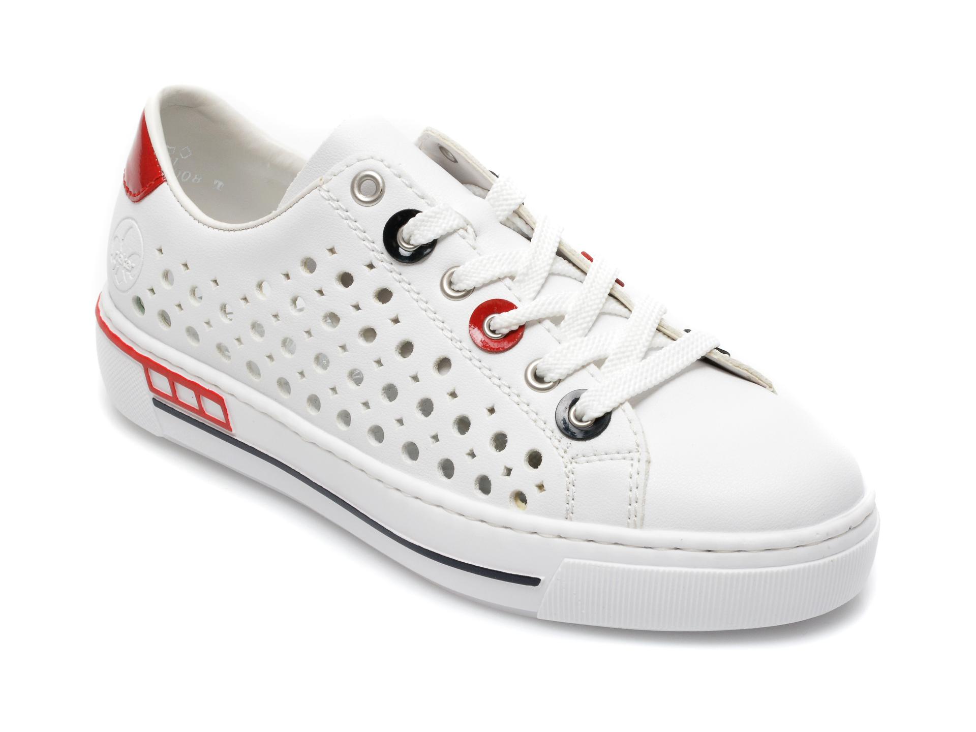 Pantofi sport RIEKER albi, L8895, din piele ecologica imagine otter.ro 2021