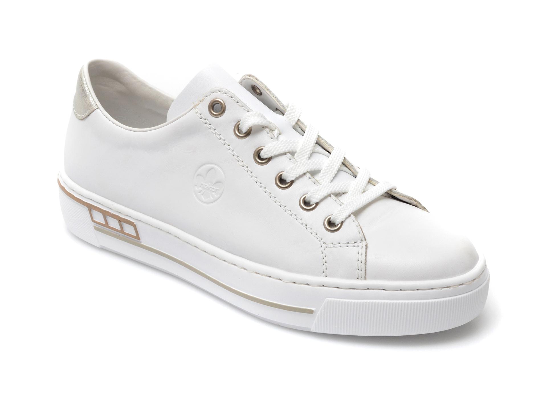 Pantofi sport RIEKER albi, L88W1, din piele ecologica imagine otter.ro 2021
