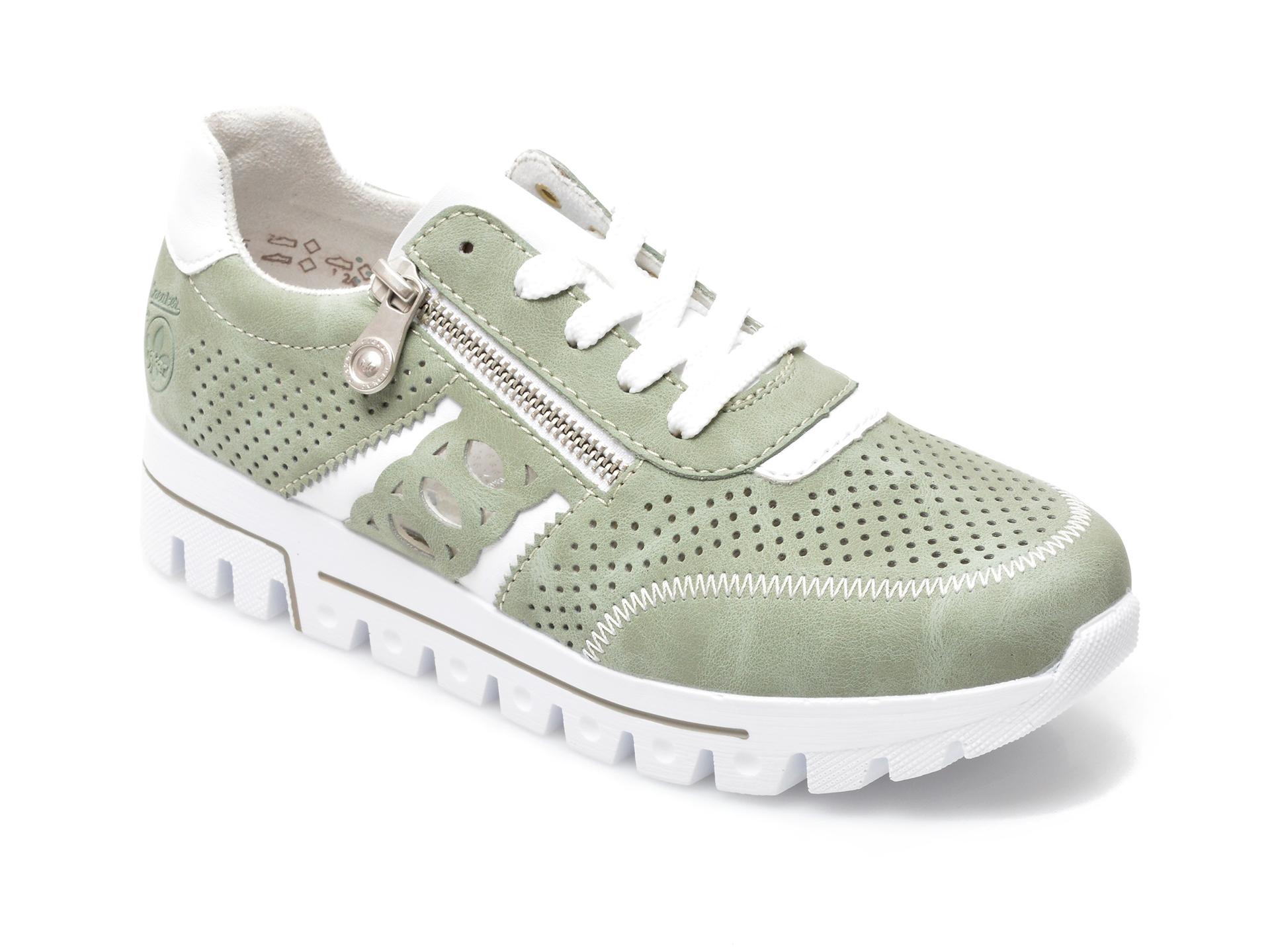 Pantofi sport RIEKER verzi, L2807, din piele ecologica imagine otter.ro 2021