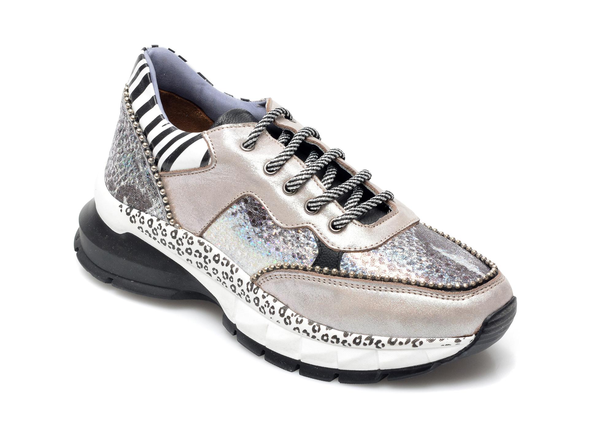 Pantofi sport ROE&DOE gri, 1201, din piele naturala imagine otter.ro