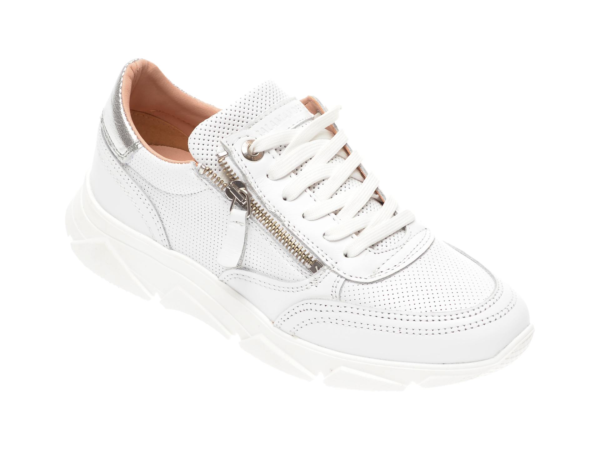 Pantofi sport SALAMANDER albi, 55402, din piele naturala imagine