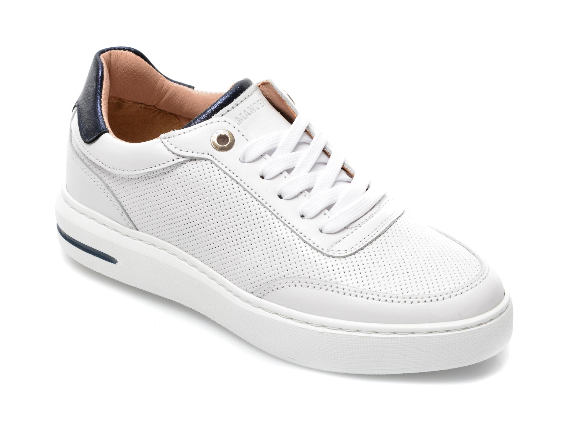 Pantofi sport SALAMANDER albi, 56903, din piele naturala imagine otter.ro 2021
