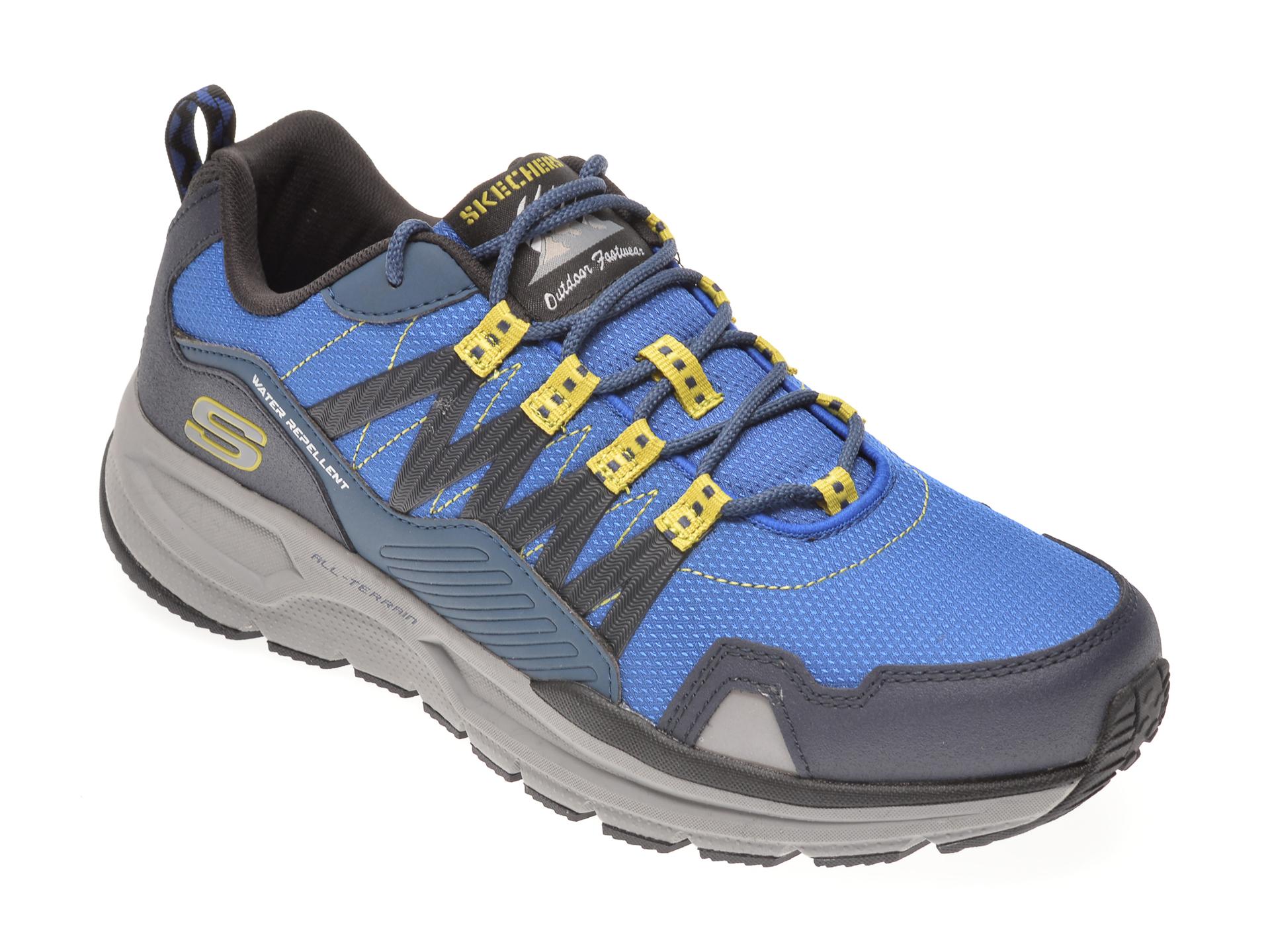 Pantofi sport SKECHERS albastri, ESCAPE PLAN 2.0 ASHWICK, din material textil si piele naturala imagine