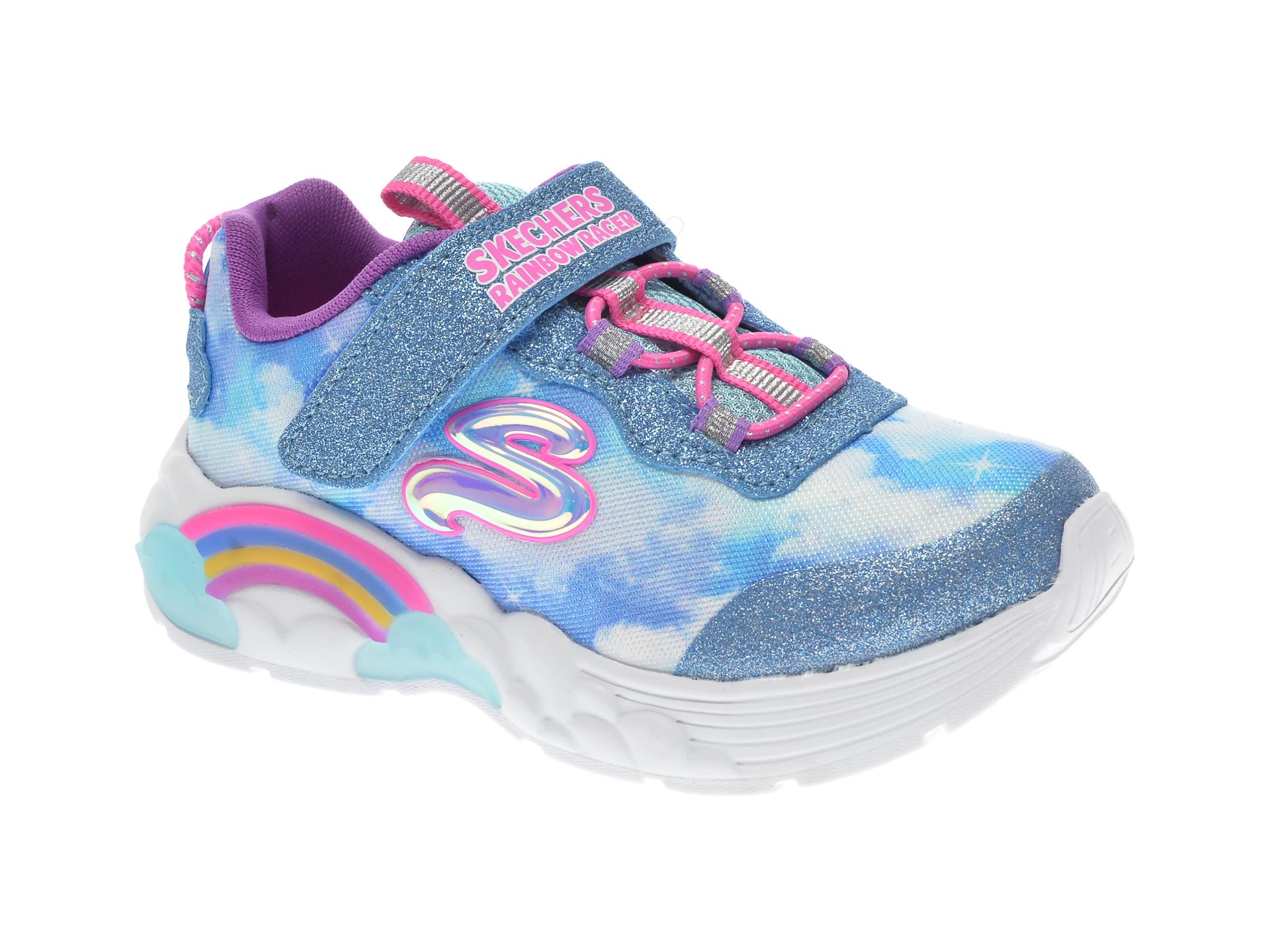 Pantofi sport SKECHERS albastri, RAINBOW RACER, din material textil imagine