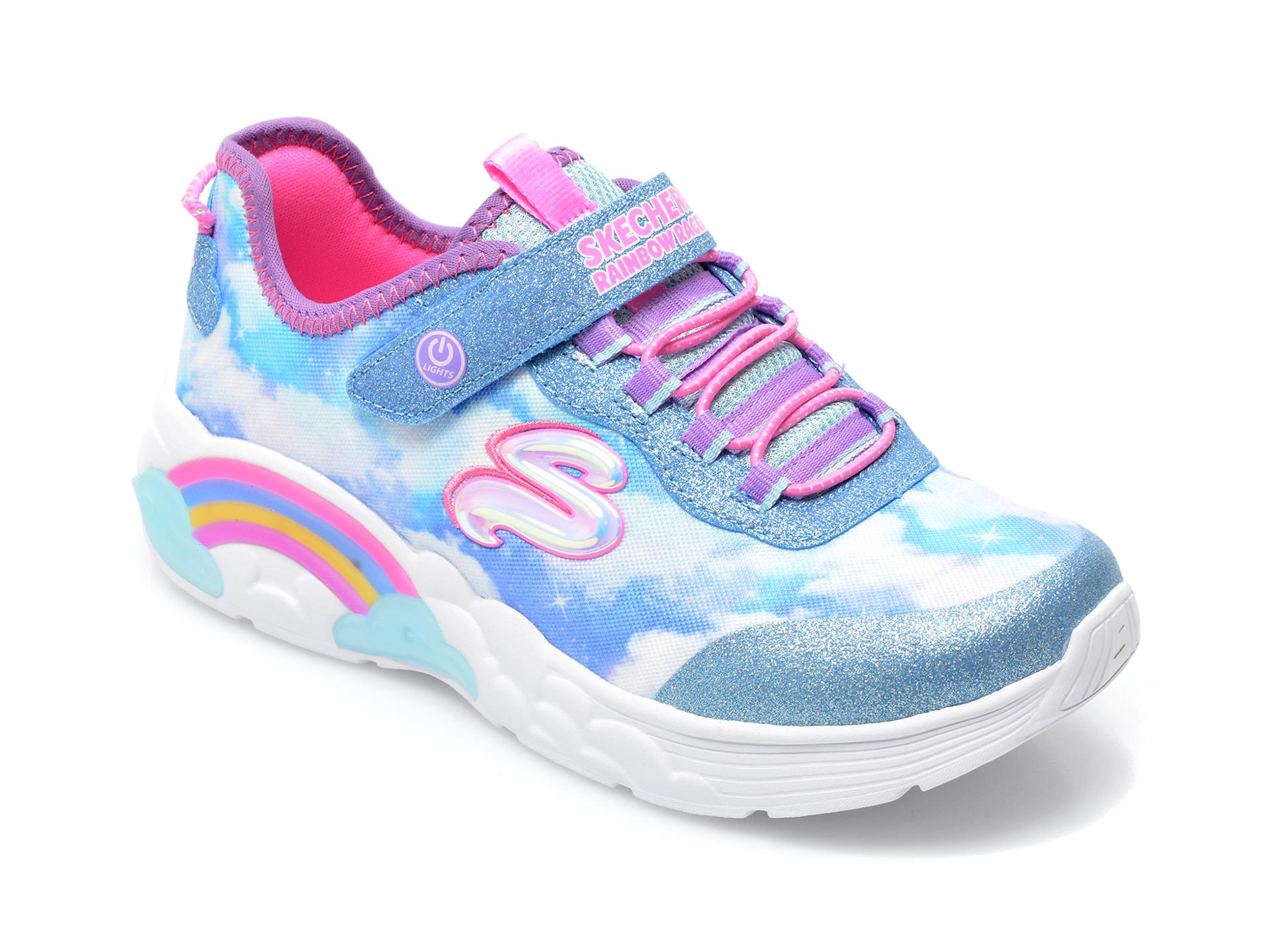 Pantofi sport SKECHERS albastri, RAINBOW RACER, din material textil