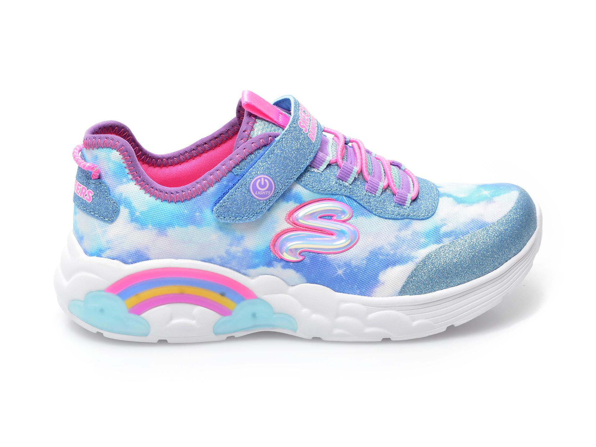 Pantofi sport SKECHERS albastri, RAINBOW RACER, din material textil - 1