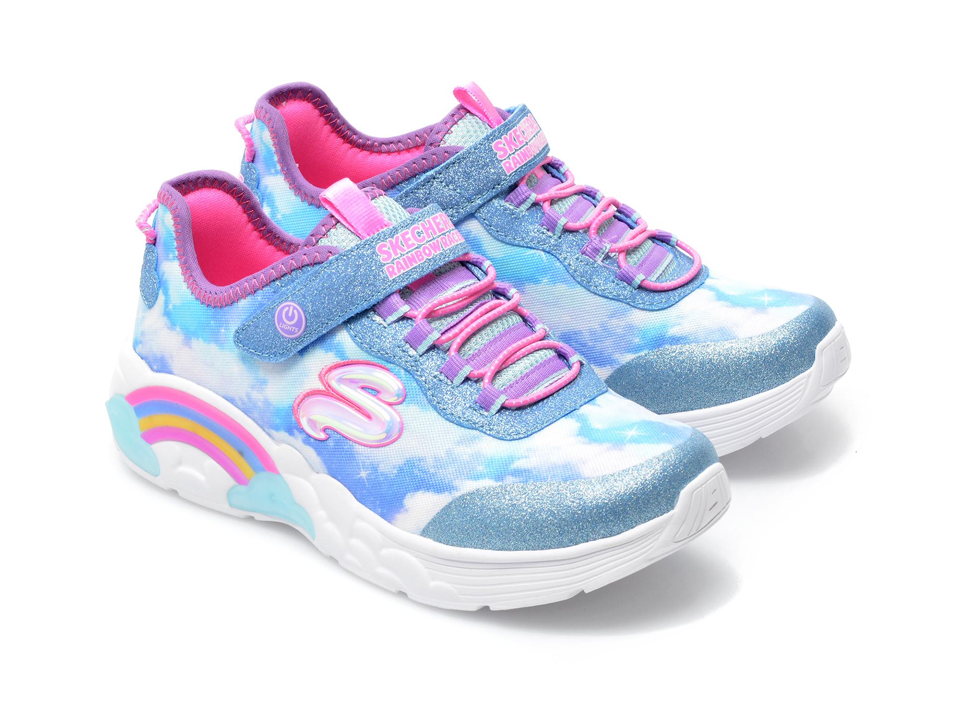 Pantofi sport SKECHERS albastri, RAINBOW RACER, din material textil - 4