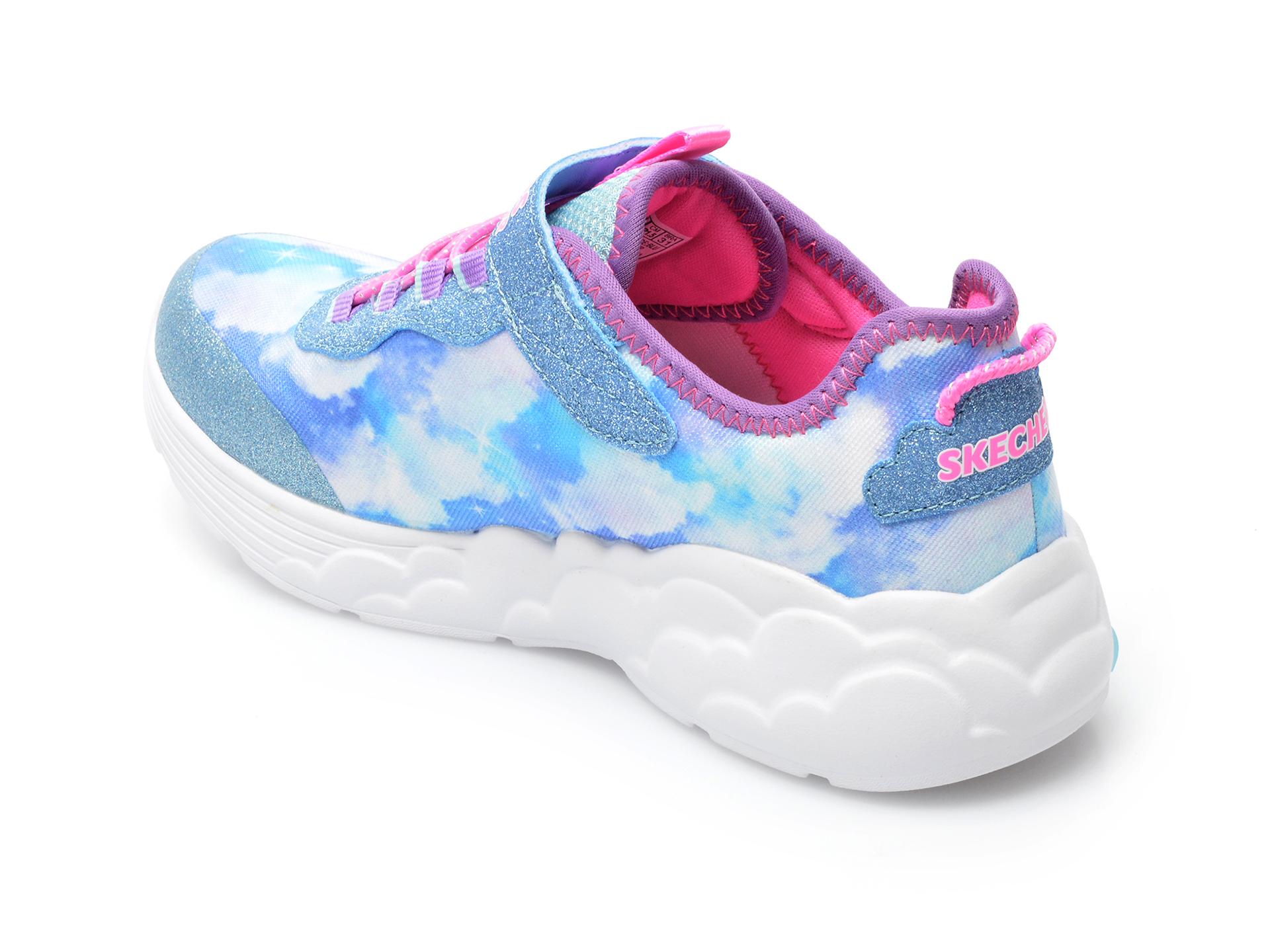 Pantofi sport SKECHERS albastri, RAINBOW RACER, din material textil - 5