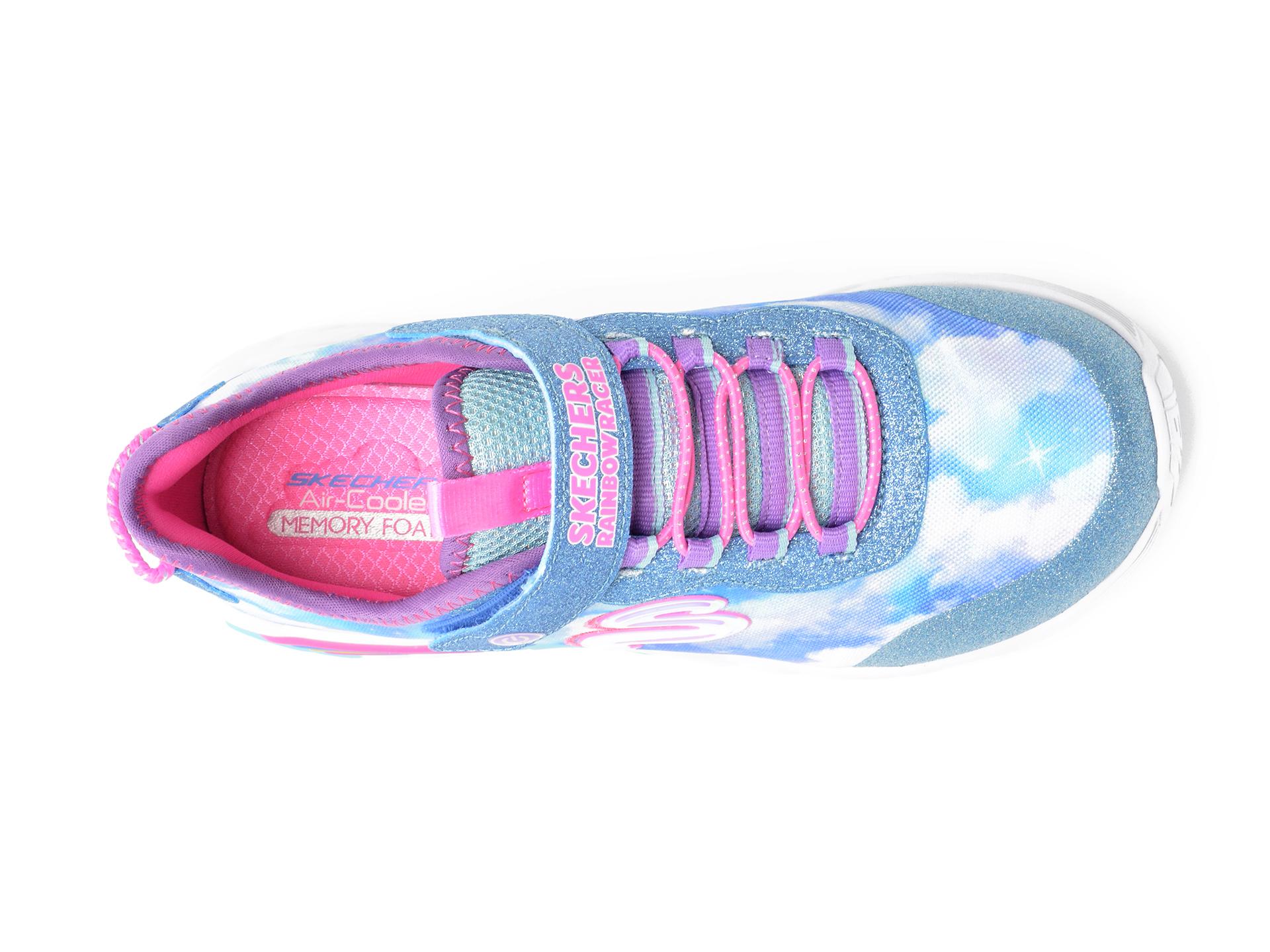 Pantofi sport SKECHERS albastri, RAINBOW RACER, din material textil - 6