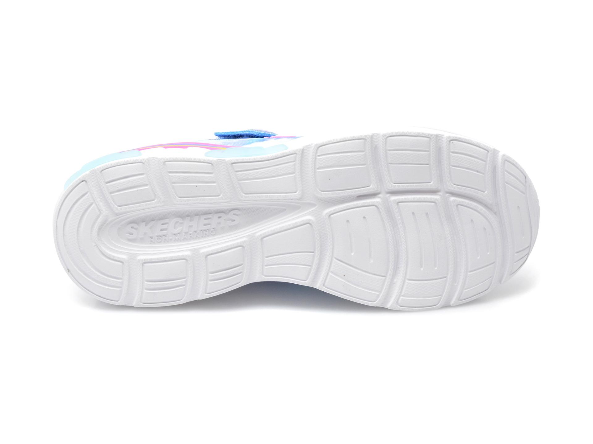 Pantofi sport SKECHERS albastri, RAINBOW RACER, din material textil - 7