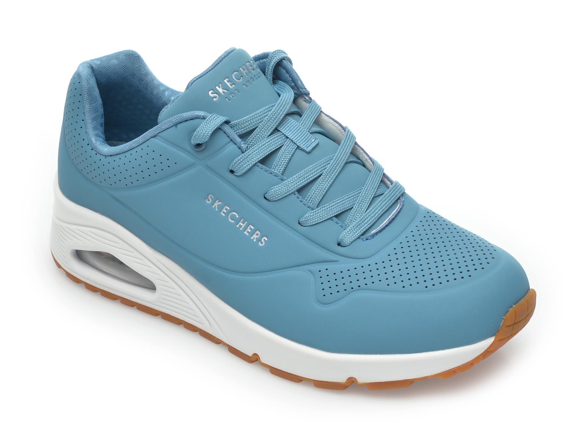 Pantofi sport SKECHERS albastri, Uno Stand On Air, din piele ecologica New