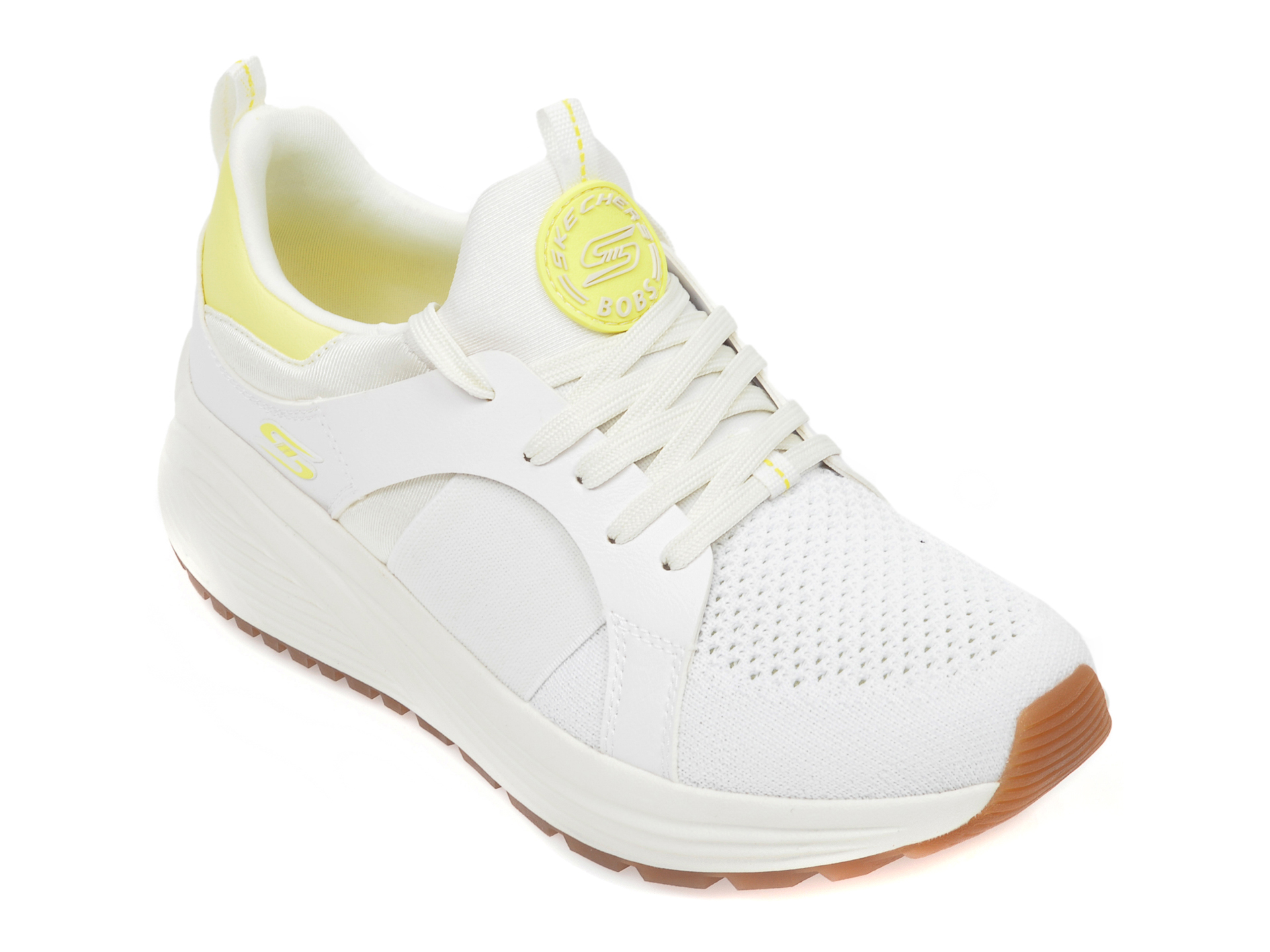 Pantofi sport SKECHERS albi, Bobs Sparrow 2.0 Metro Daisy, din material textil