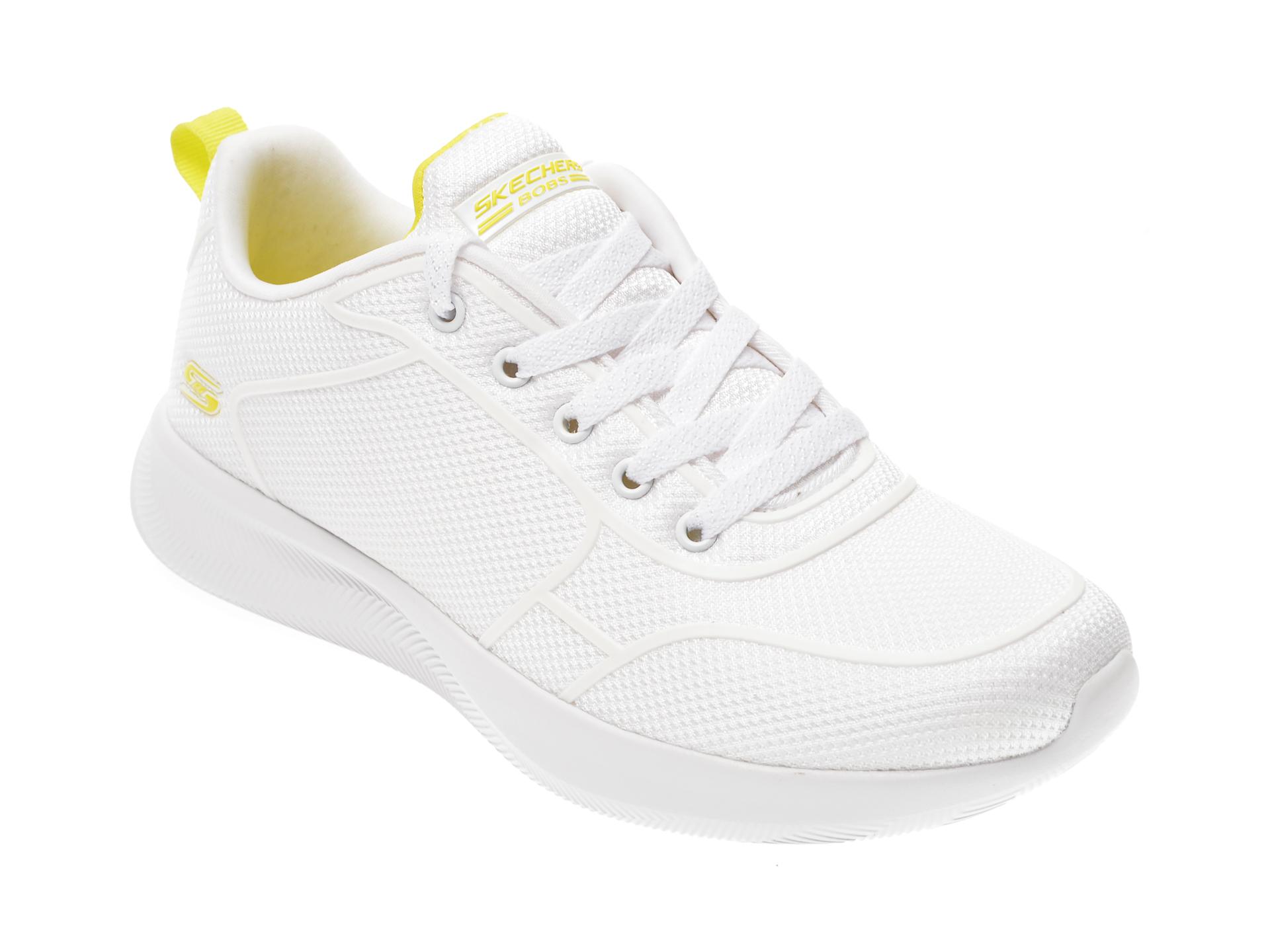Pantofi sport SKECHERS albi, Bobs Squad 2, din material textil imagine