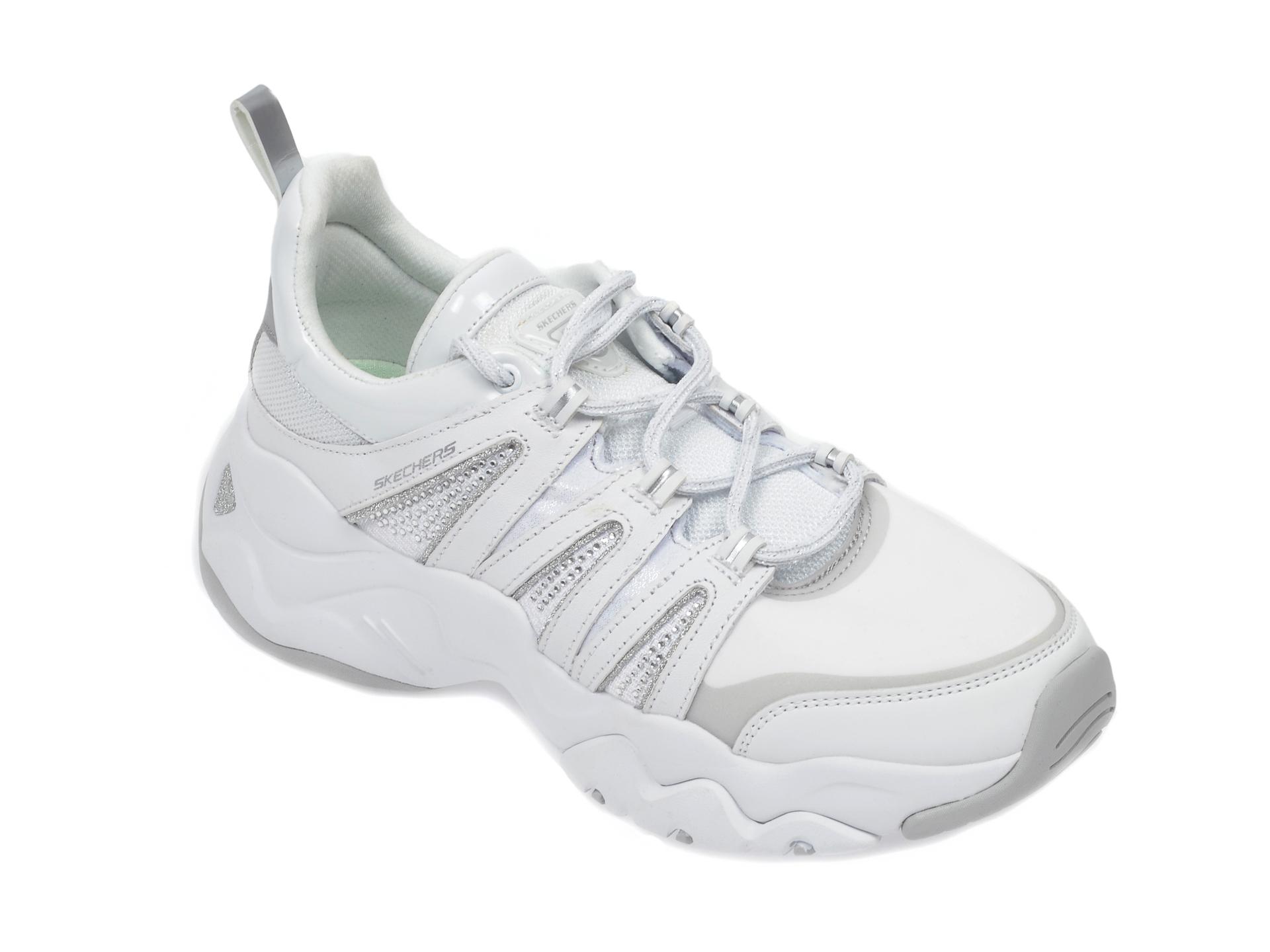 Pantofi sport SKECHERS albi, Dlites 3.0 Intense Force, din material textil si piele naturala