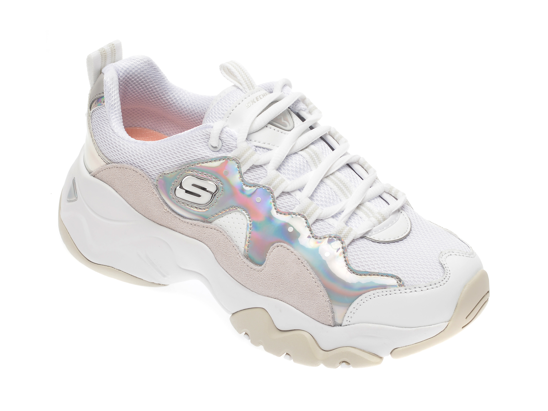 Pantofi sport SKECHERS albi, Dlites 3.0 Liquid Silver, din material textil si piele intoarsa