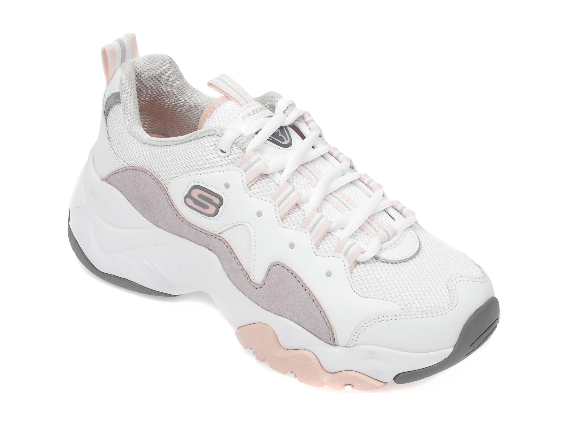 Pantofi sport SKECHERS albi, Dlites 3.0 Zenway, din piele naturala imagine