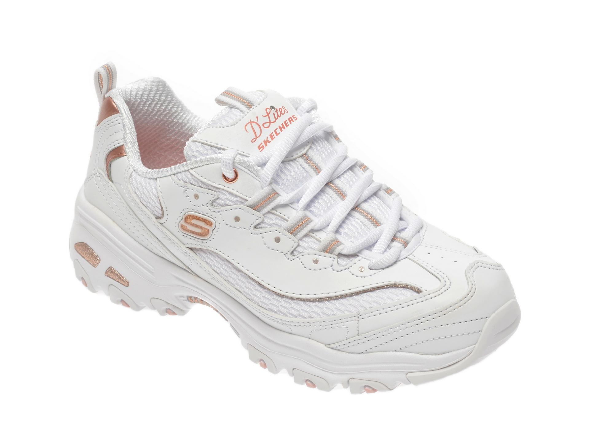 Pantofi sport SKECHERS albi, Dlites Copper Divine, din material textil piele naturala