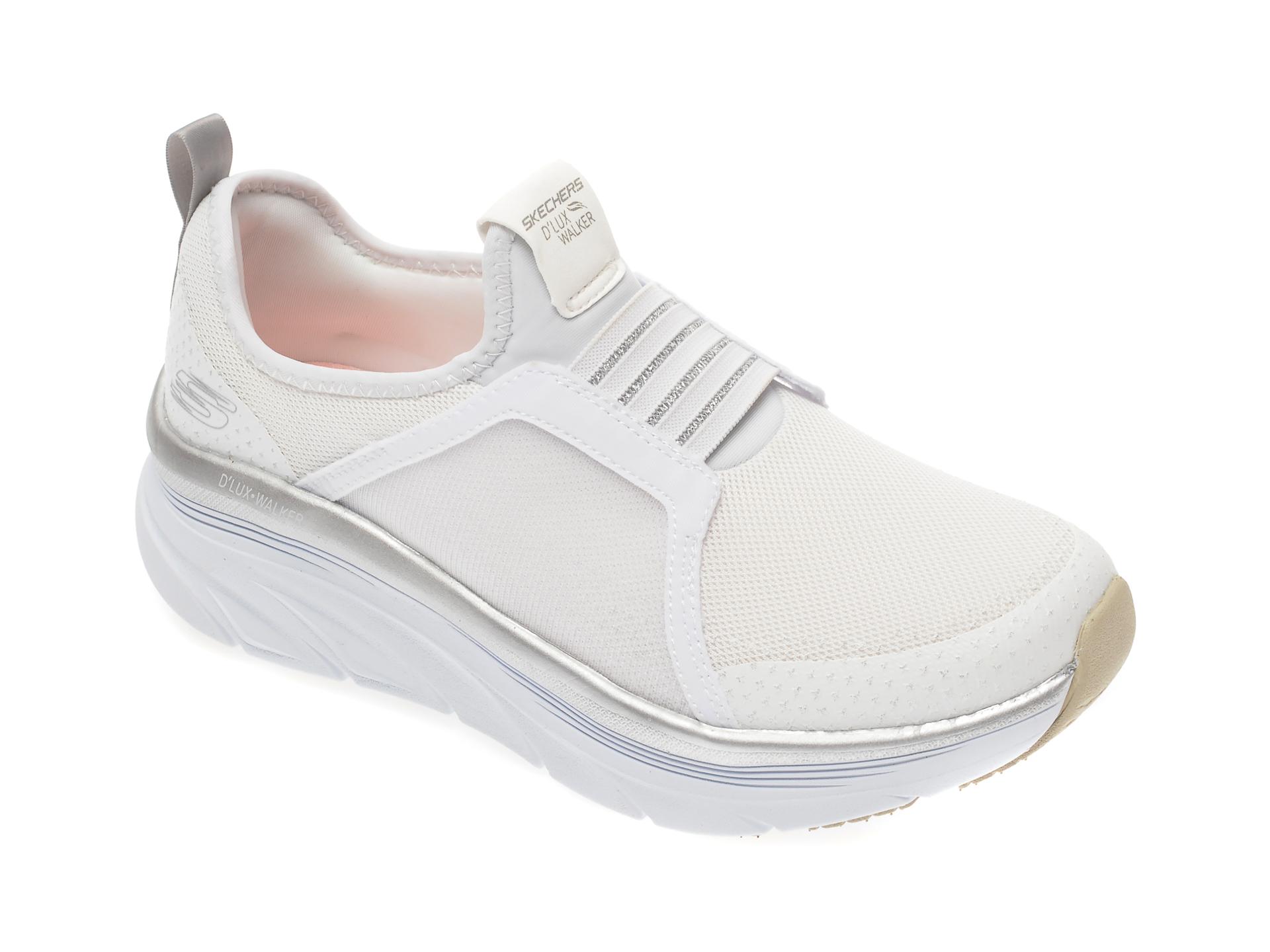 Pantofi sport SKECHERS albi, Dlux Walker, din material textil imagine