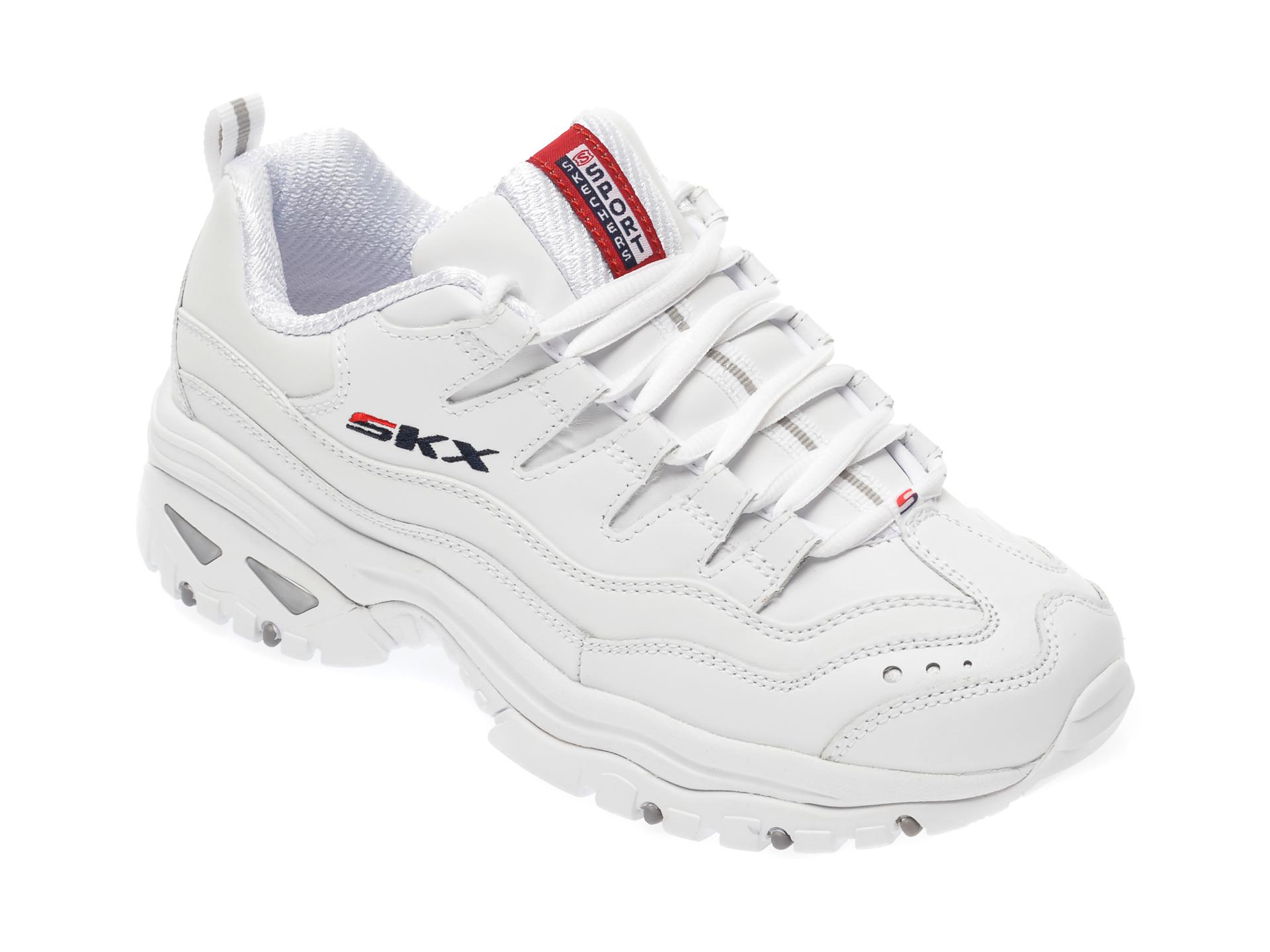 Pantofi sport SKECHERS albi, Energy Timeless Vision, din piele naturala New