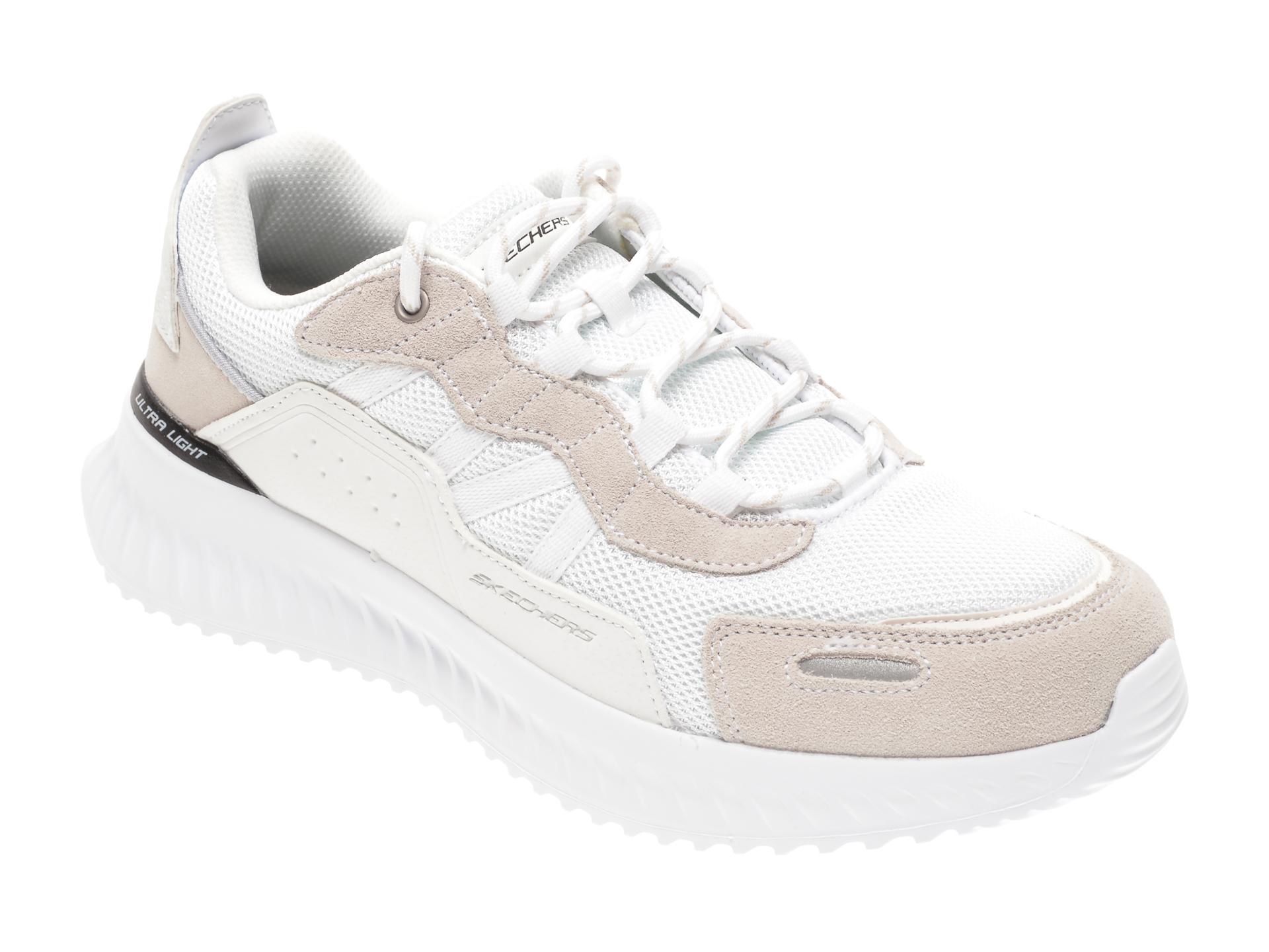 Pantofi sport SKECHERS albi, MATERA 2.0 XIMINO, din material textil si piele naturala imagine