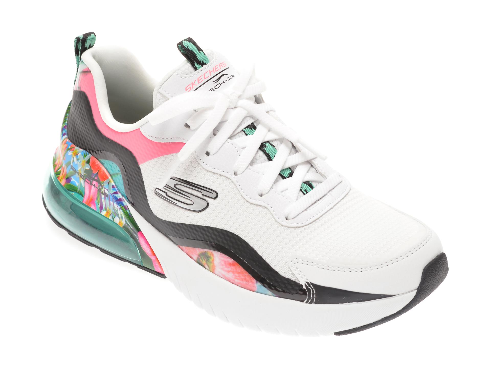 Pantofi sport SKECHERS albi, SKECH-AIR STRATUS SUPER GALAXY, din material textil si piele ecologica imagine otter.ro