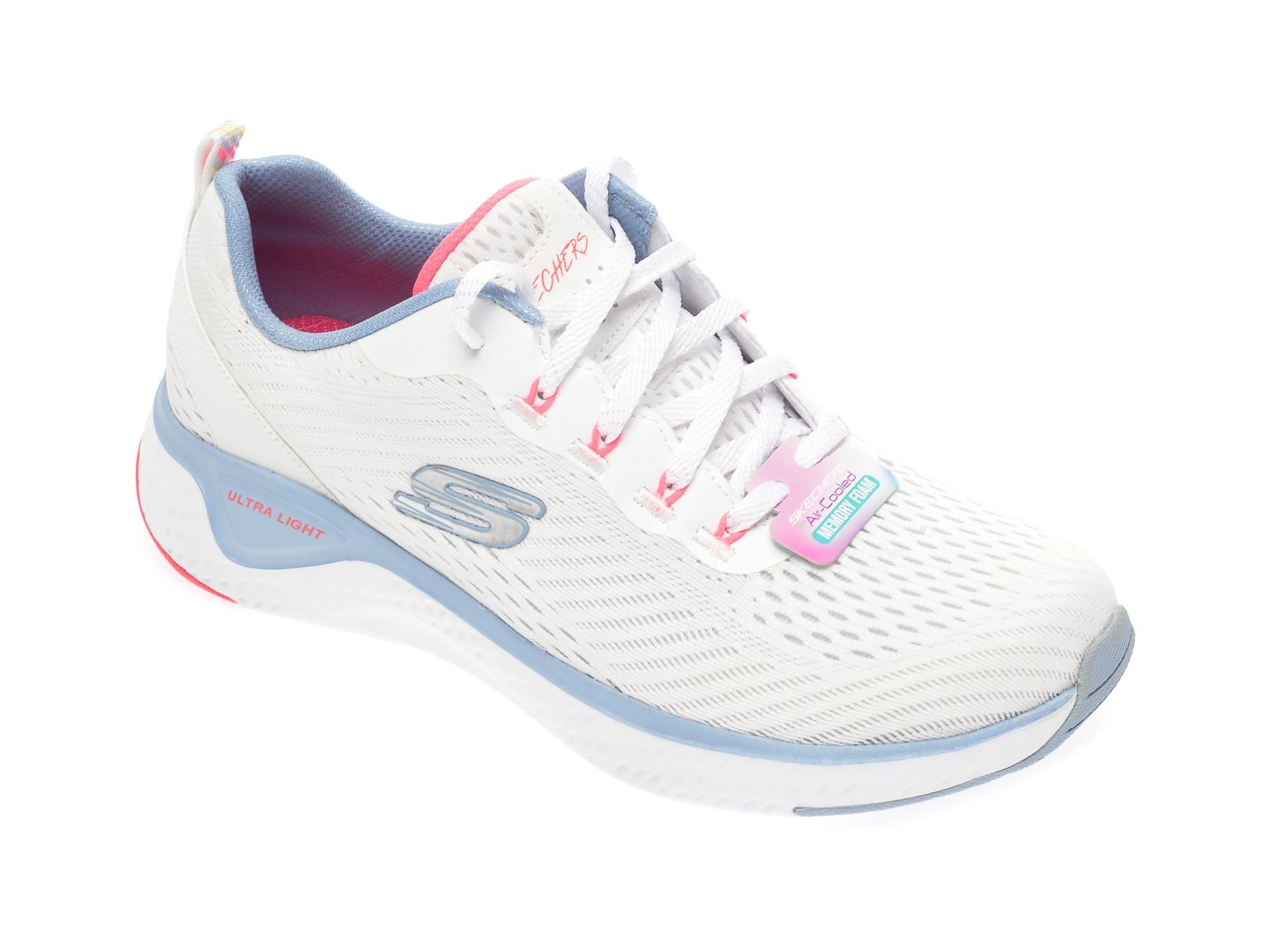 Pantofi sport SKECHERS albi, Solar Fuse, din material textil