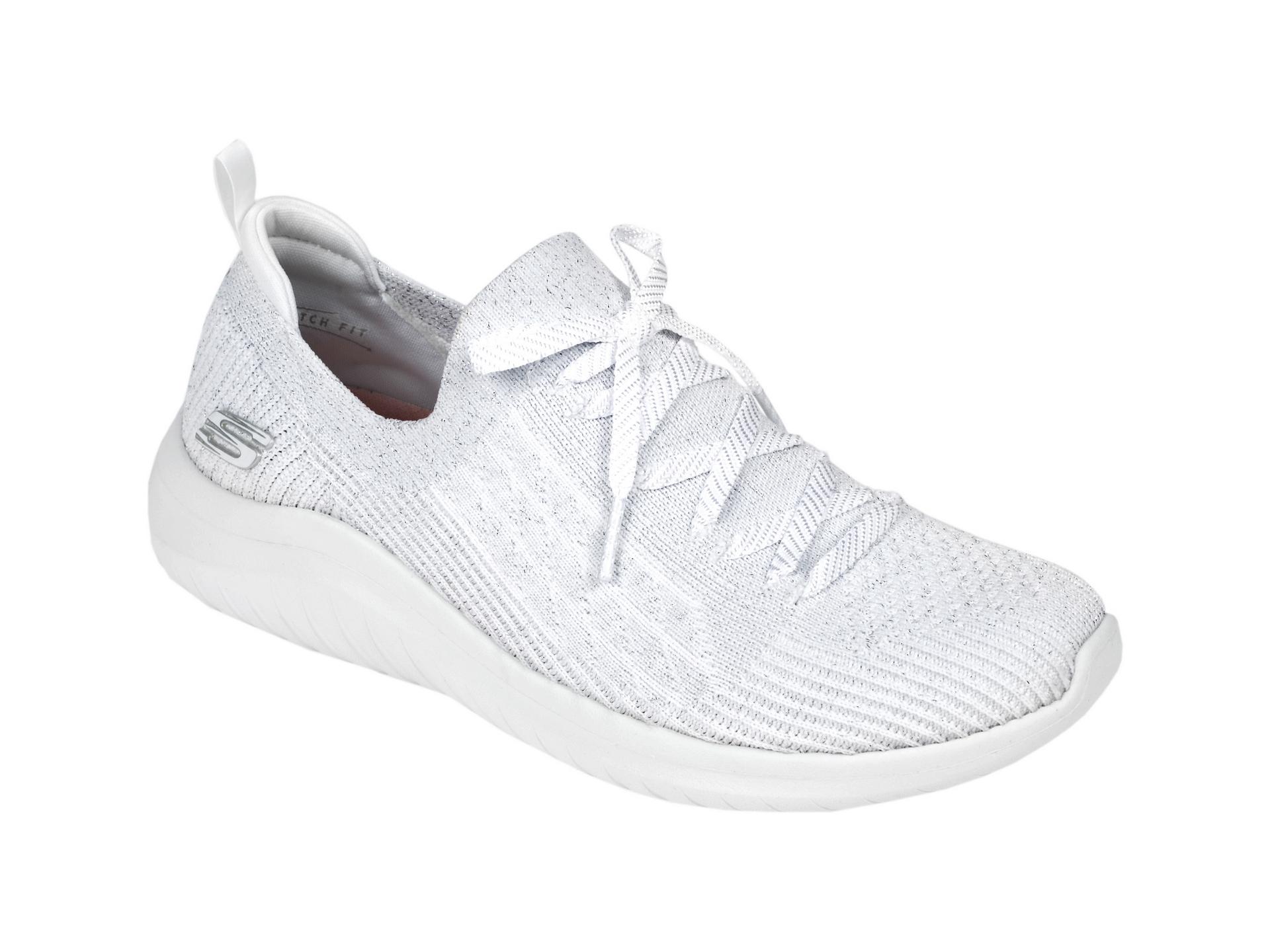 Pantofi sport SKECHERS albi, Ultra Flex 2.0 Glimmer Sky, din material textil