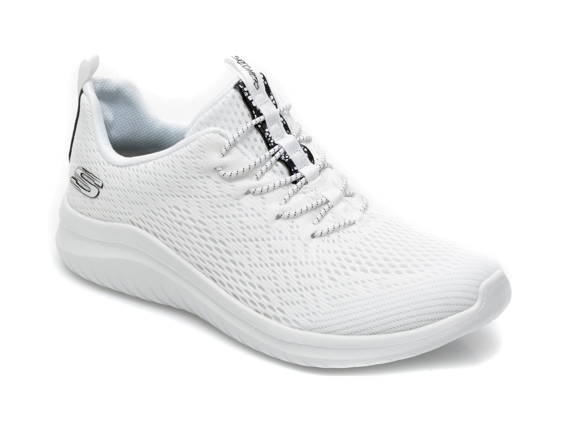 Pantofi sport SKECHERS albi, Ultra Flex 2.0 Lite-Groove, din material textil