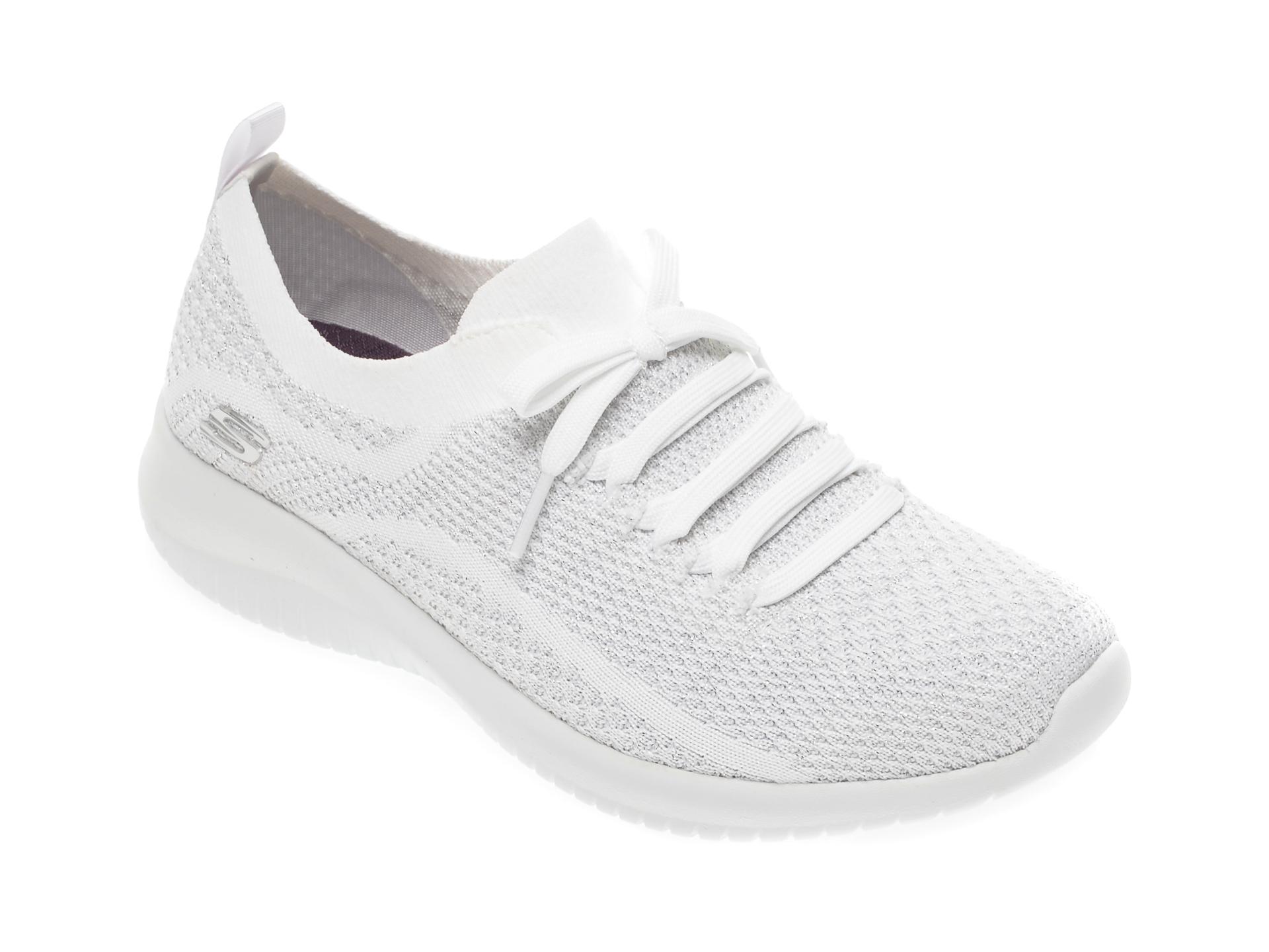 Pantofi sport SKECHERS albi, Ultra Flex, din material textil
