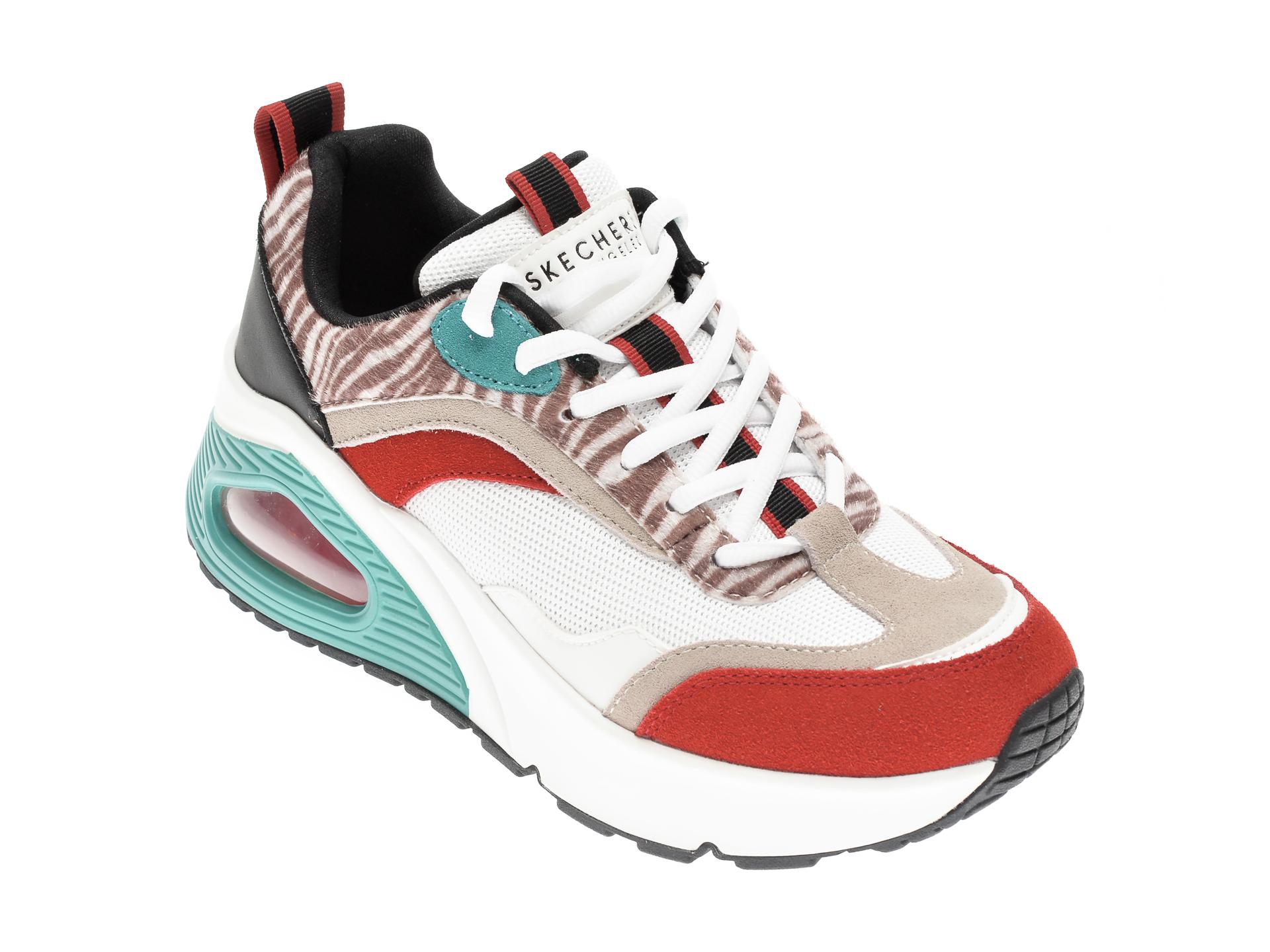 Pantofi sport SKECHERS albi, UNO HI WILDLY HIGH, din material textil si piele naturala imagine otter.ro