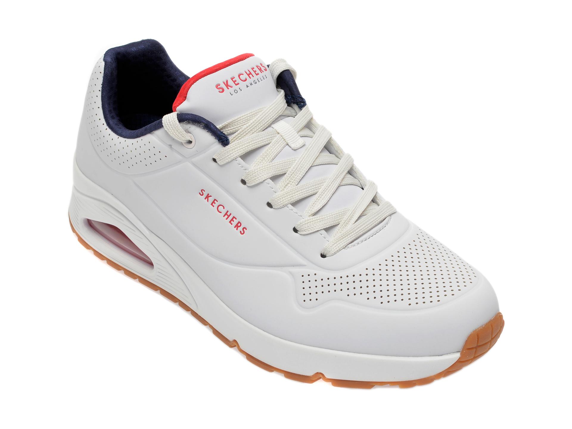 Pantofi sport SKECHERS albi, Uno Stand On Air, din piele ecologica imagine