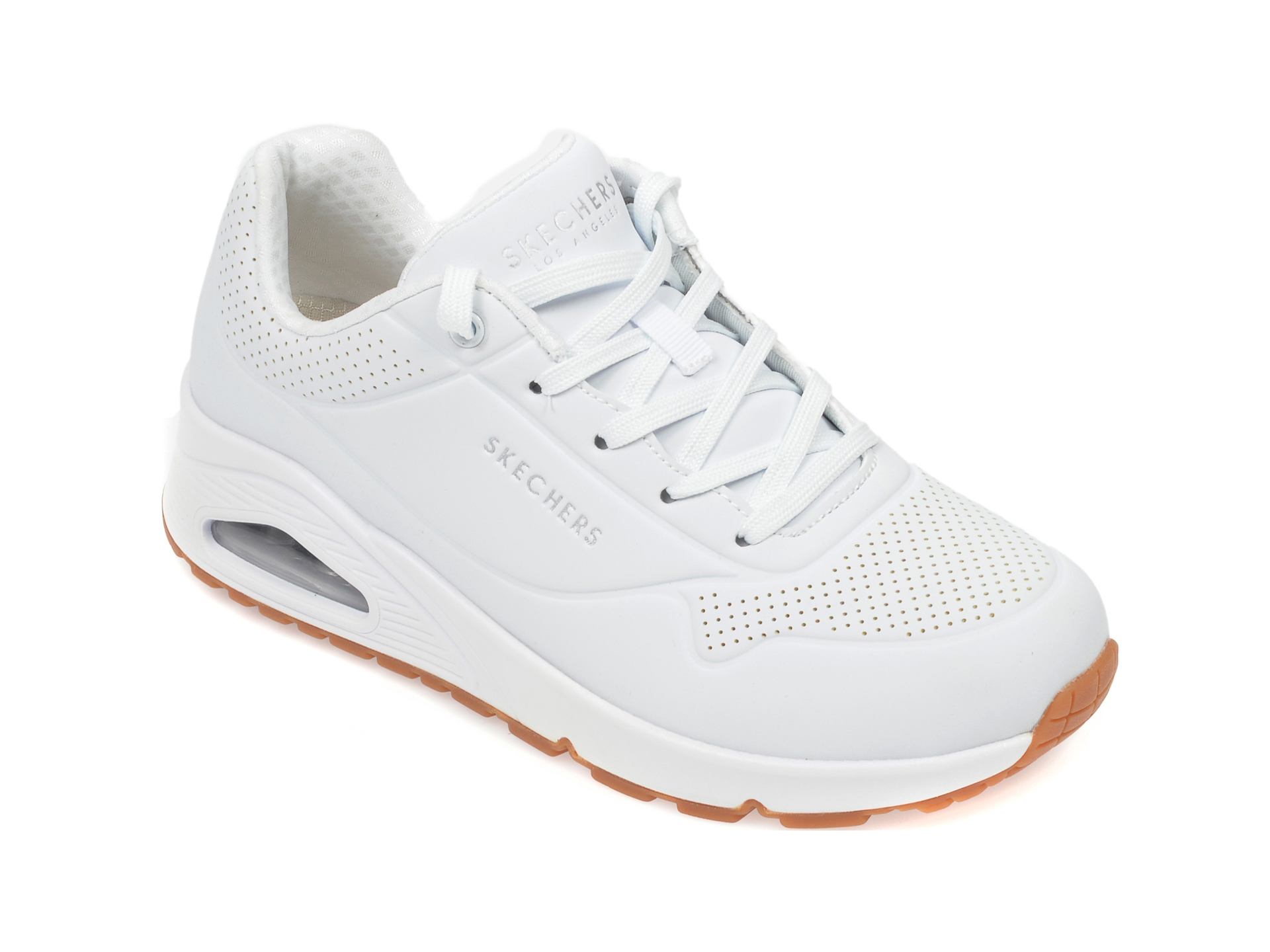 Pantofi sport SKECHERS albi, Uno Stand On Air, din piele ecologica New