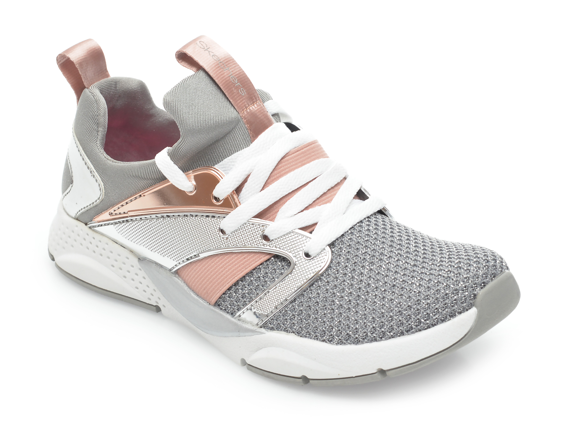 Pantofi sport SKECHERS argintii, Shine Status, din material textil