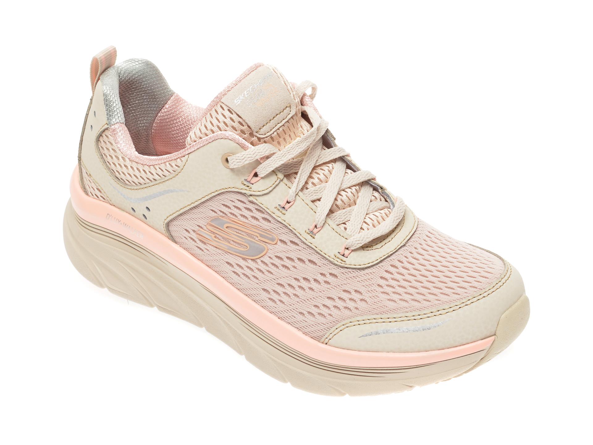 Pantofi sport SKECHERS bej, Dlux Walker, din material textil