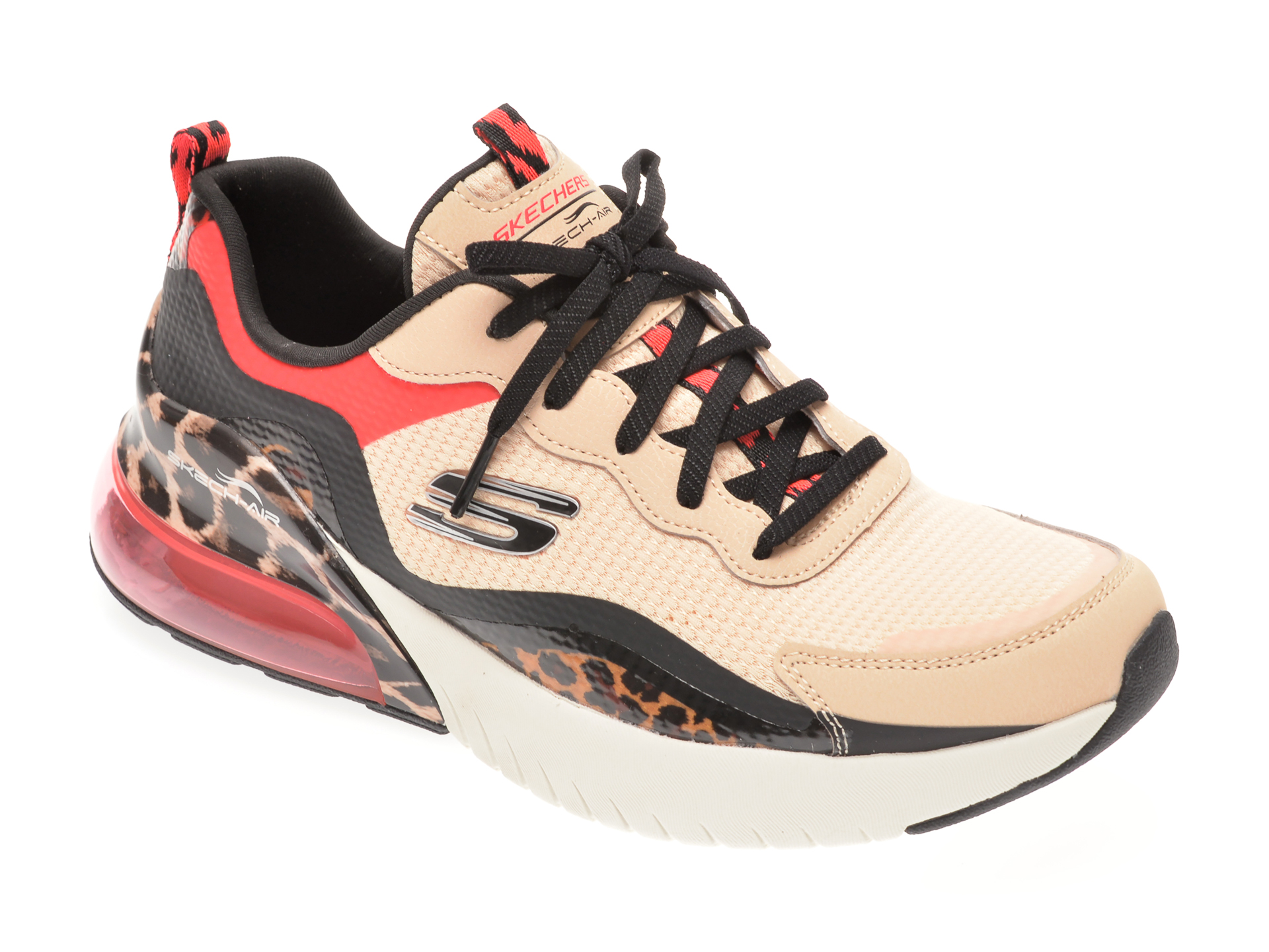 Pantofi sport SKECHERS bej, SKECH-AIR STRATUS SUPER GALAXY, din material textil si piele ecologica
