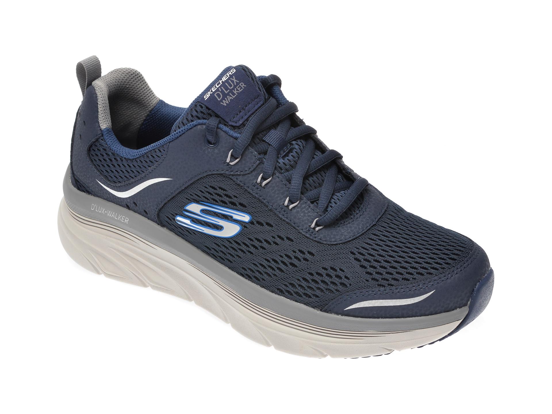 Pantofi sport SKECHERS bleumarin, Dlux Walker, din material textil si piele naturala imagine