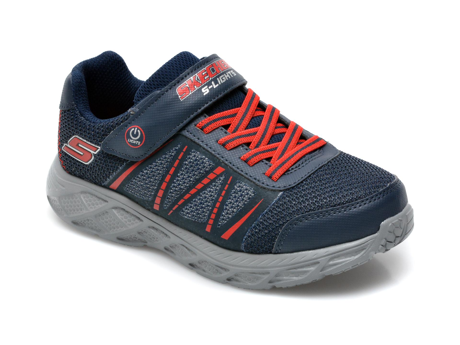 Pantofi sport SKECHERS bleumarin, Dynamic-Flash, din material textil si piele ecologica
