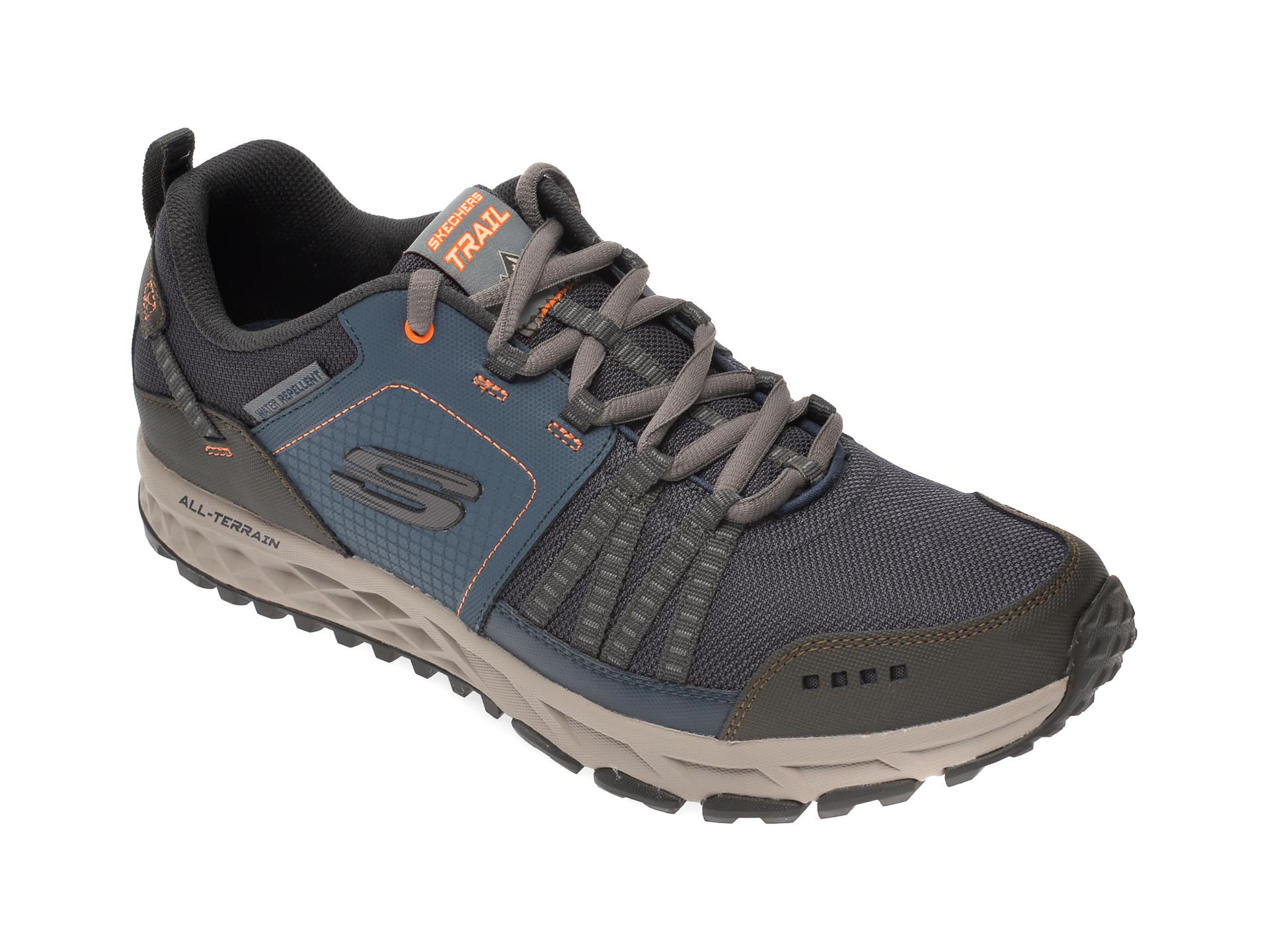 Pantofi sport SKECHERS bleumarin, Escape Plan, din material textil si piele naturala imagine