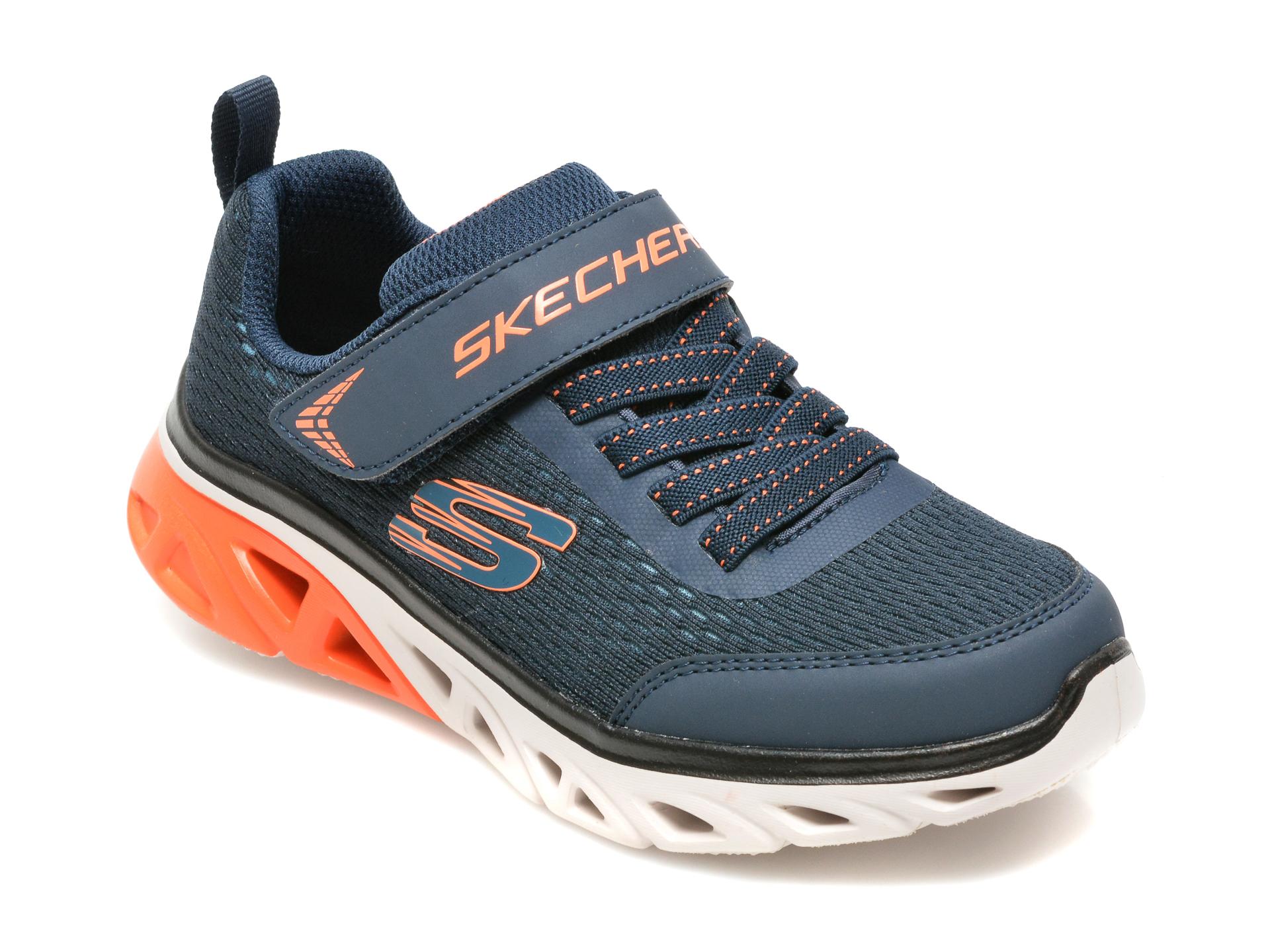 Pantofi sport SKECHERS bleumarin, GLIDE-STEP SPORT, din material textil si piele ecologica