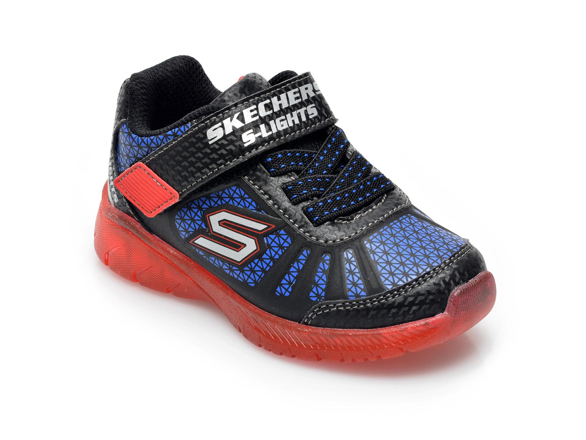Pantofi sport SKECHERS bleumarin, Illumi-Brights Tuff Track, din piele ecologica