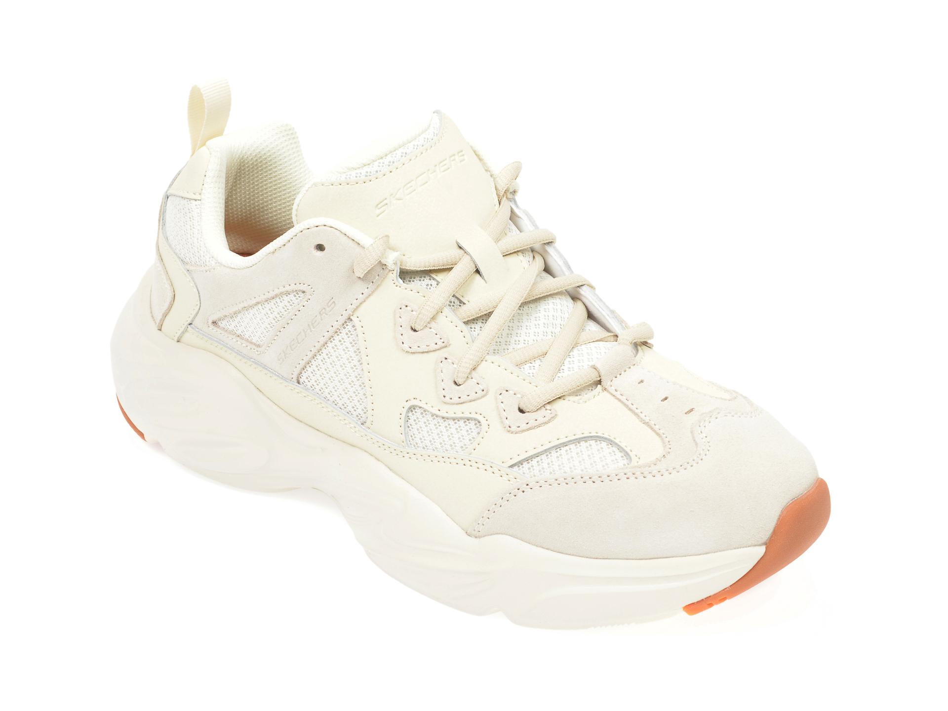 Pantofi sport SKECHERS crem, Stamina Airy, din material textil si piele naturala imagine