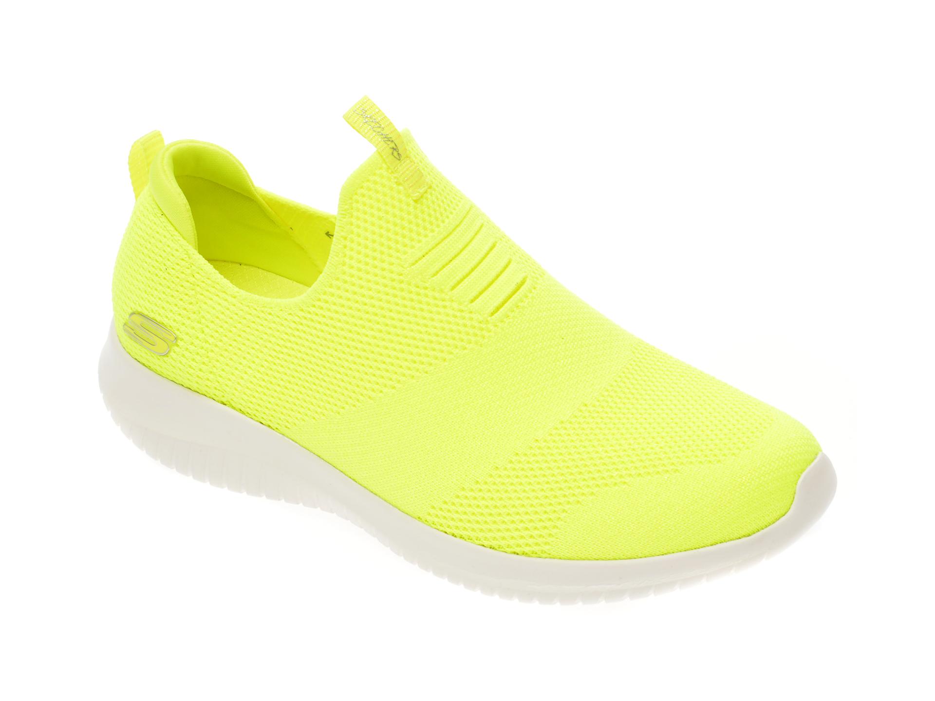 Pantofi sport SKECHERS galbeni, Ultra Flex, din material textil