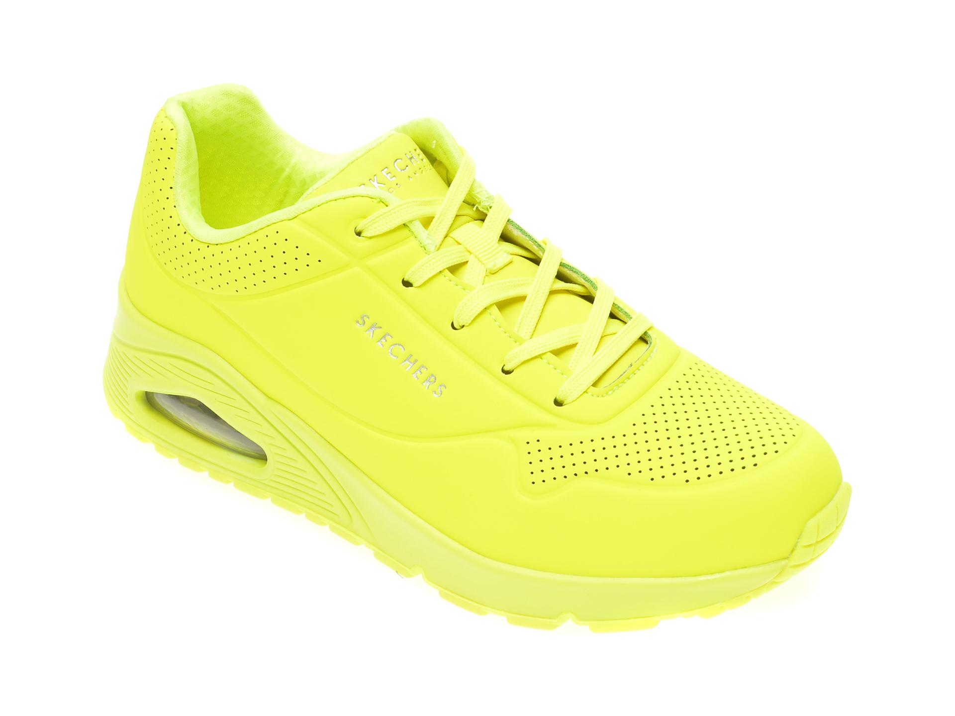 Pantofi sport SKECHERS galbeni, Uno Night Shades, din piele ecologica