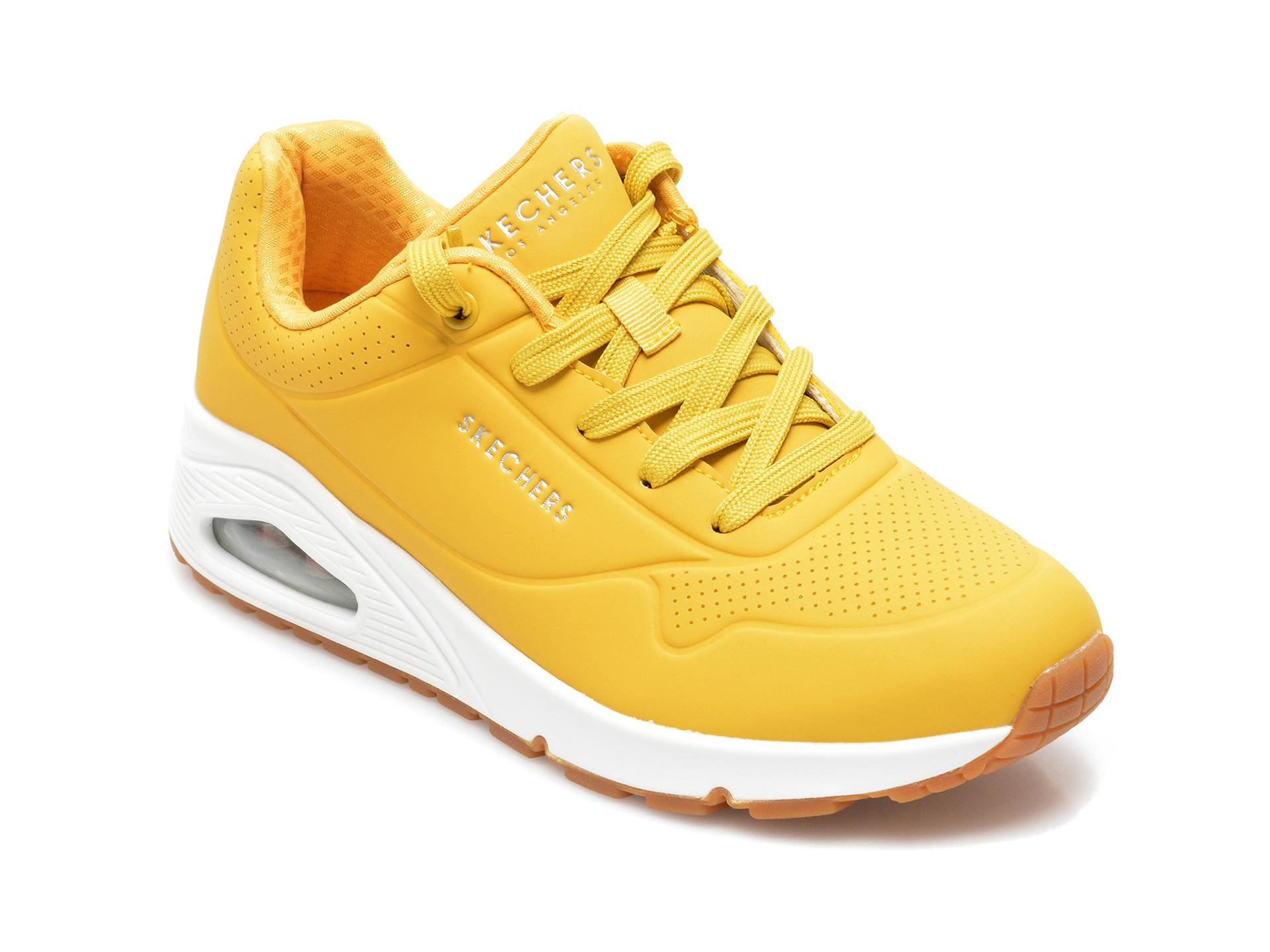 Pantofi Sport Skechers Galbeni, Unostand On Air, Din Piele Ecologica