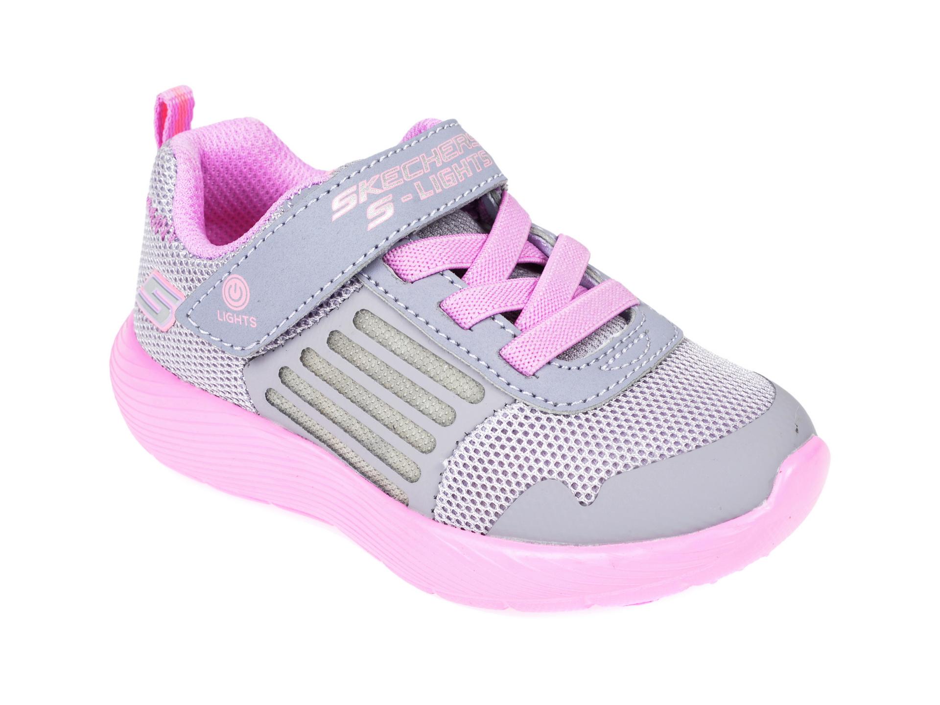 Pantofi sport SKECHERS gri, Dyna-Lights, din material textil