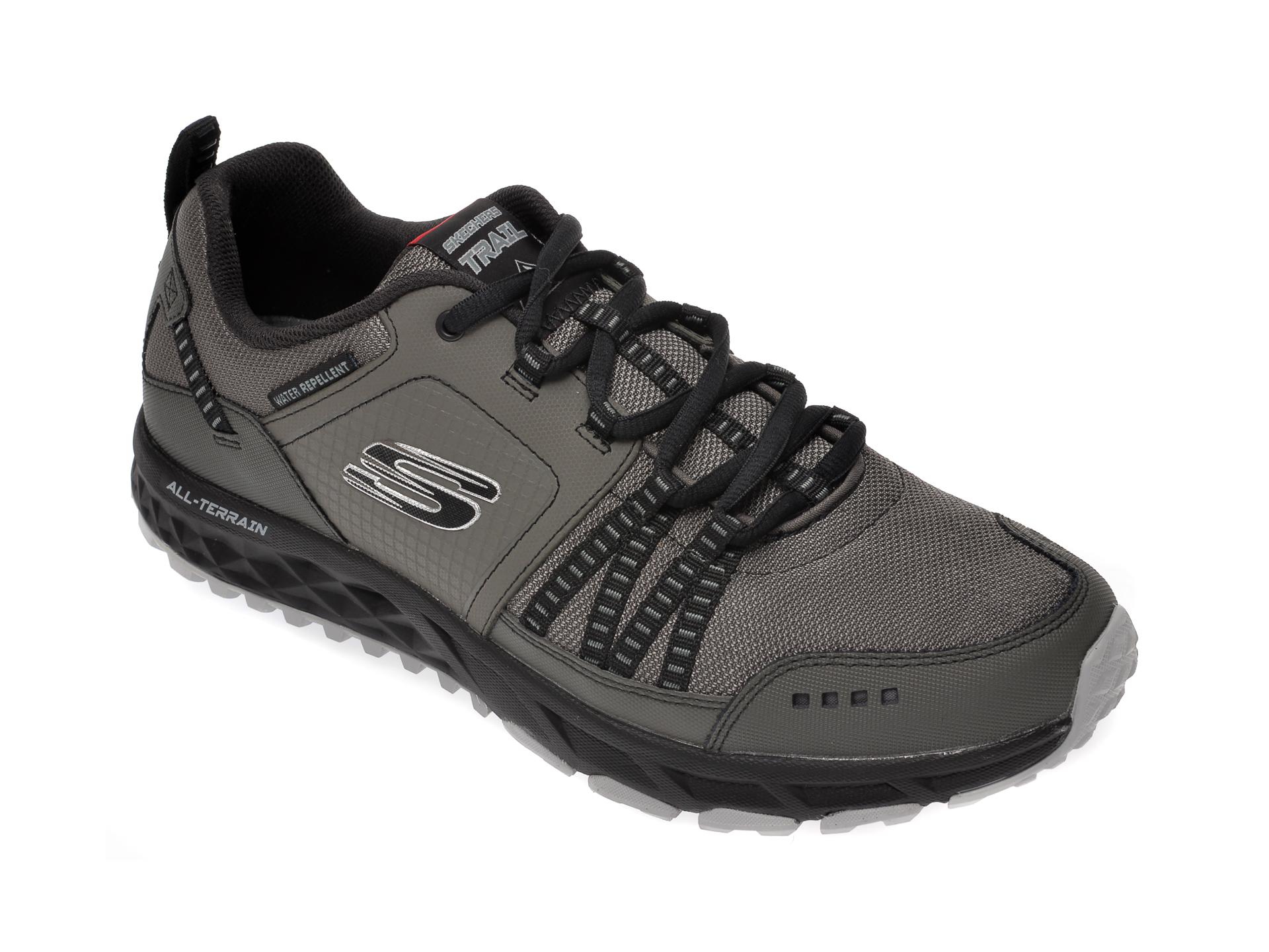 Pantofi sport SKECHERS gri, Escape Plan, din material textil si piele naturala imagine