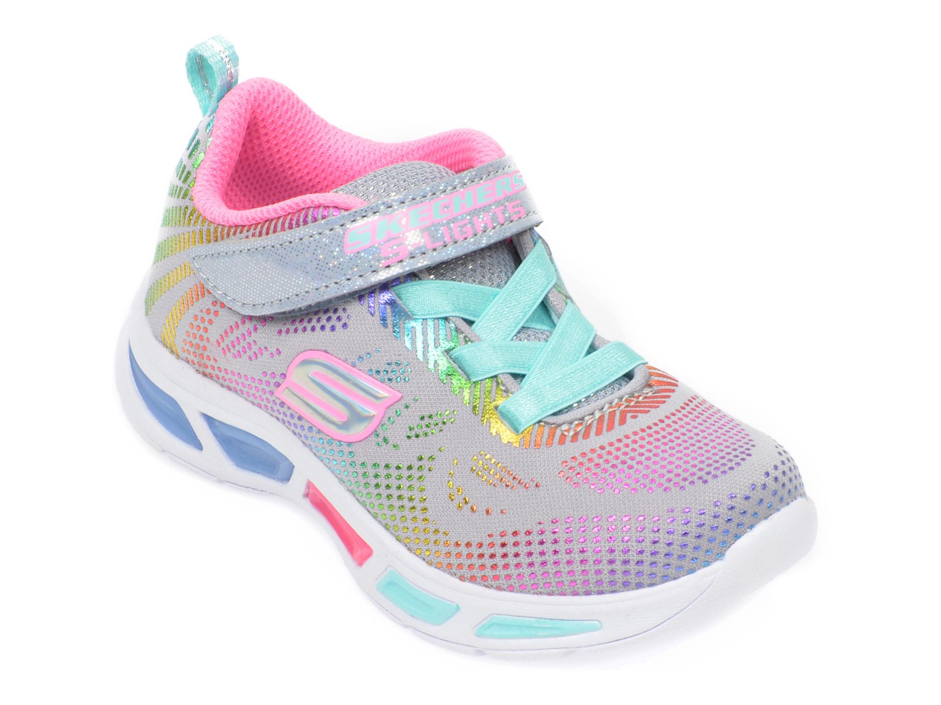 Pantofi sport SKECHERS gri, Litebeams Gleam N Dream, din material textil
