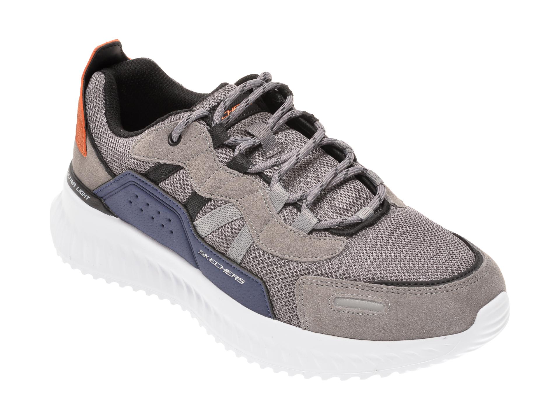 Pantofi sport SKECHERS gri, MATERA 2.0 XIMINO, din material textil si piele naturala imagine