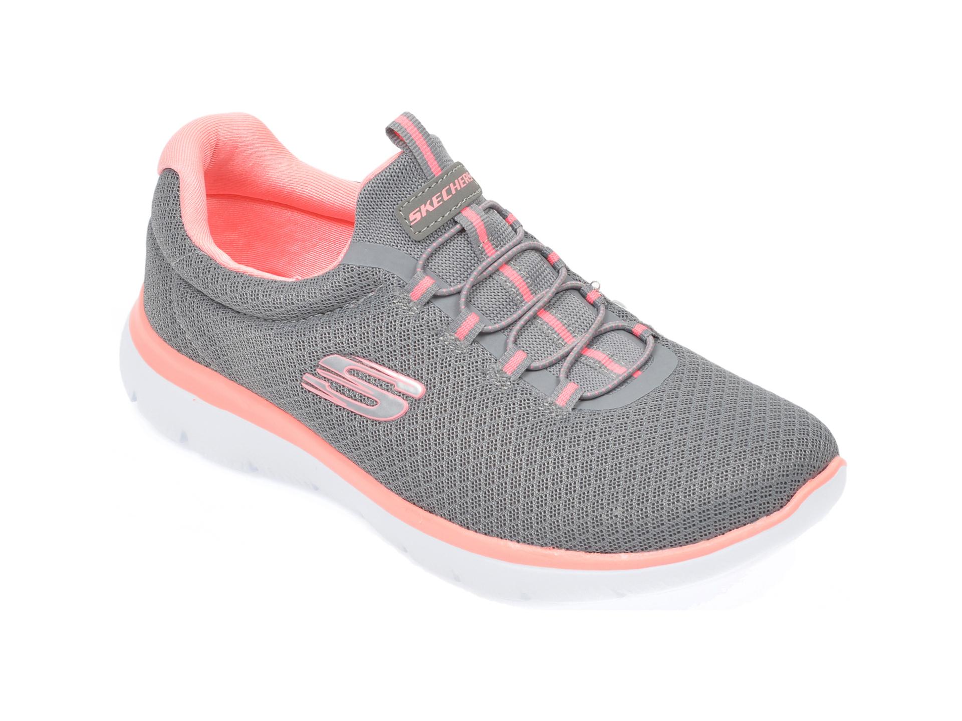 Pantofi sport SKECHERS gri, Summits, din material textil New
